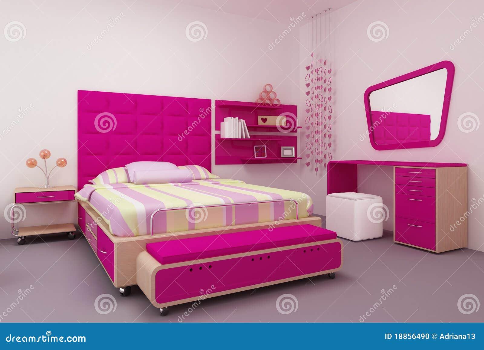De slaapkamer van het meisje stock illustratie illustratie