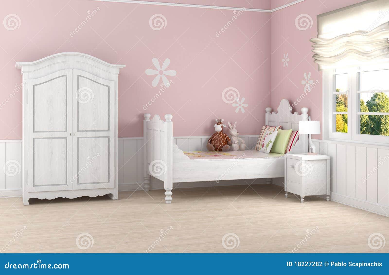 De slaapkamer van het roze meisje stock fotografie afbeelding 18227282 - Romantische witte bed ...