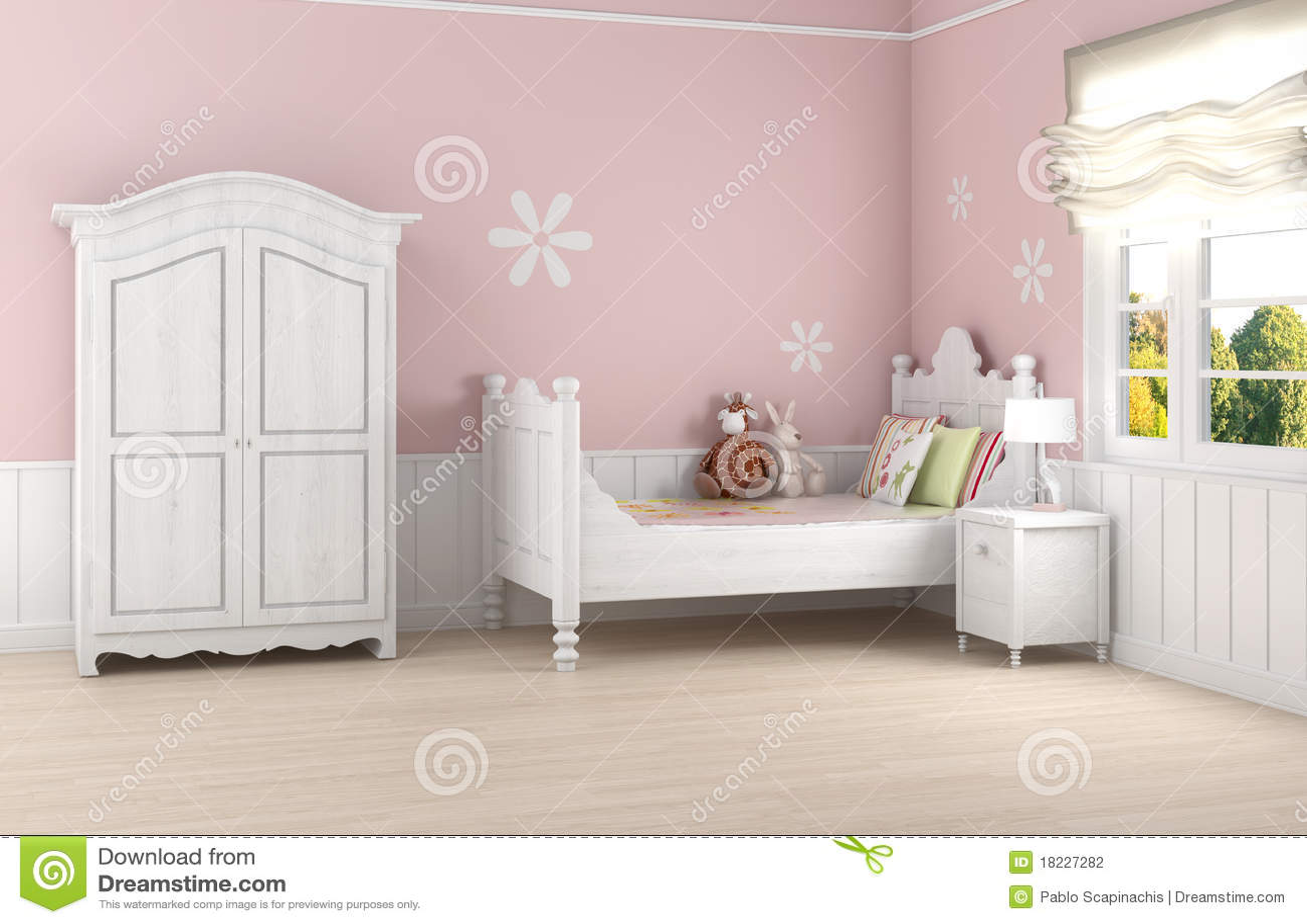 De slaapkamer van het roze meisje stock fotografie afbeelding 18227282 for Meisje slaapkamer fotos