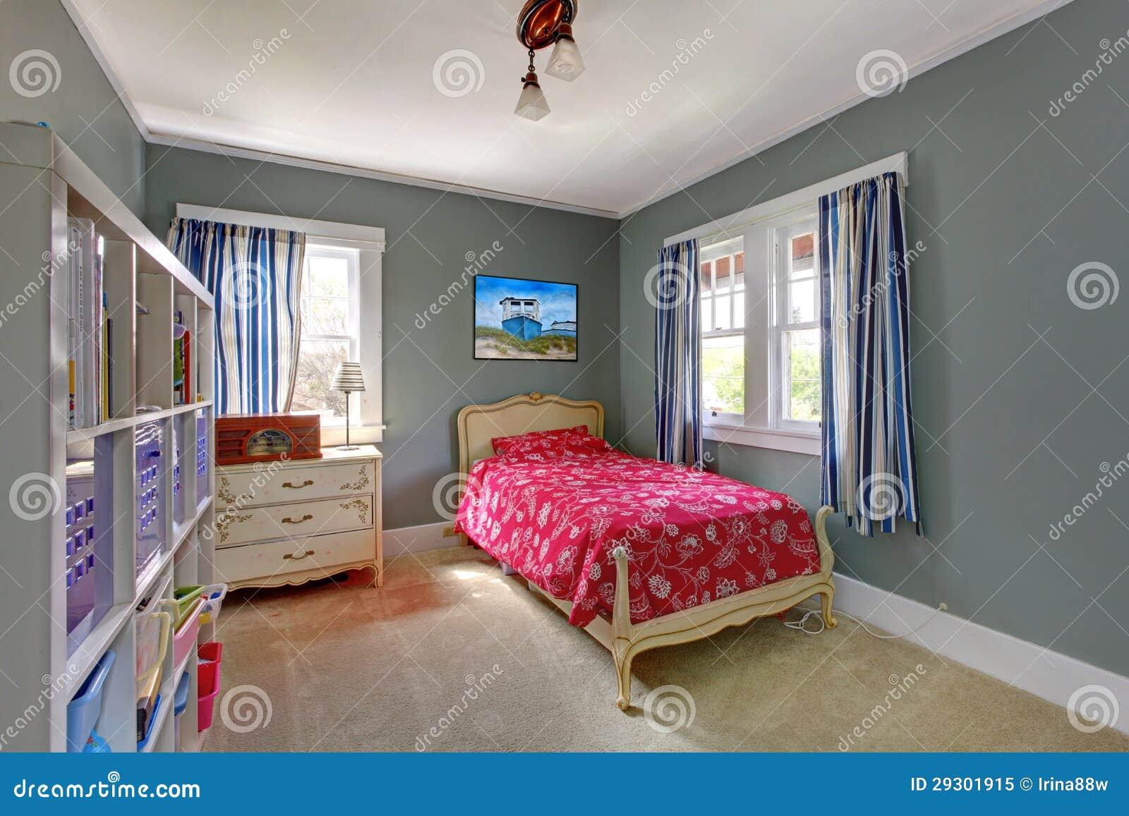 de slaapkamer van jonge geitjes met rood bed en grijze muren, Meubels Ideeën