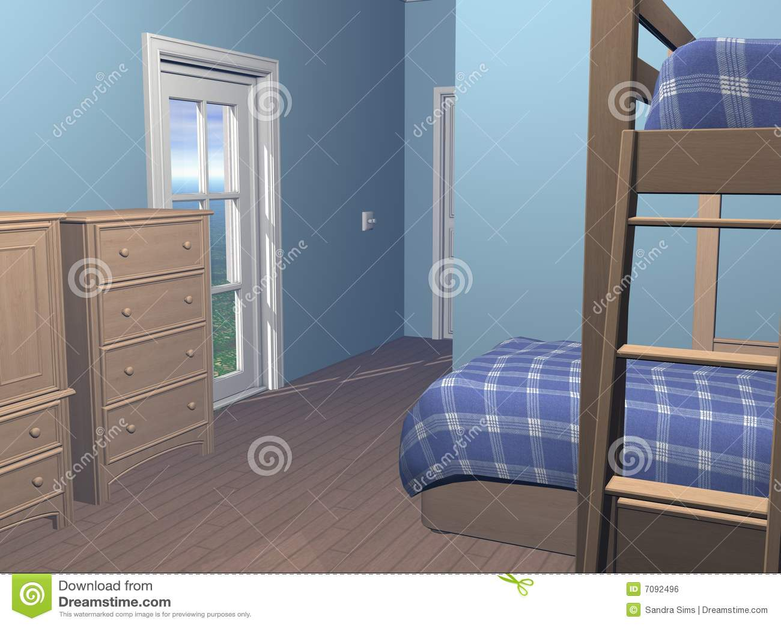 eigentijdse stedelijke jongensslaapkamer met bureau en bunkbeds 3 dimensionale modellen computer geproduceerd beeld