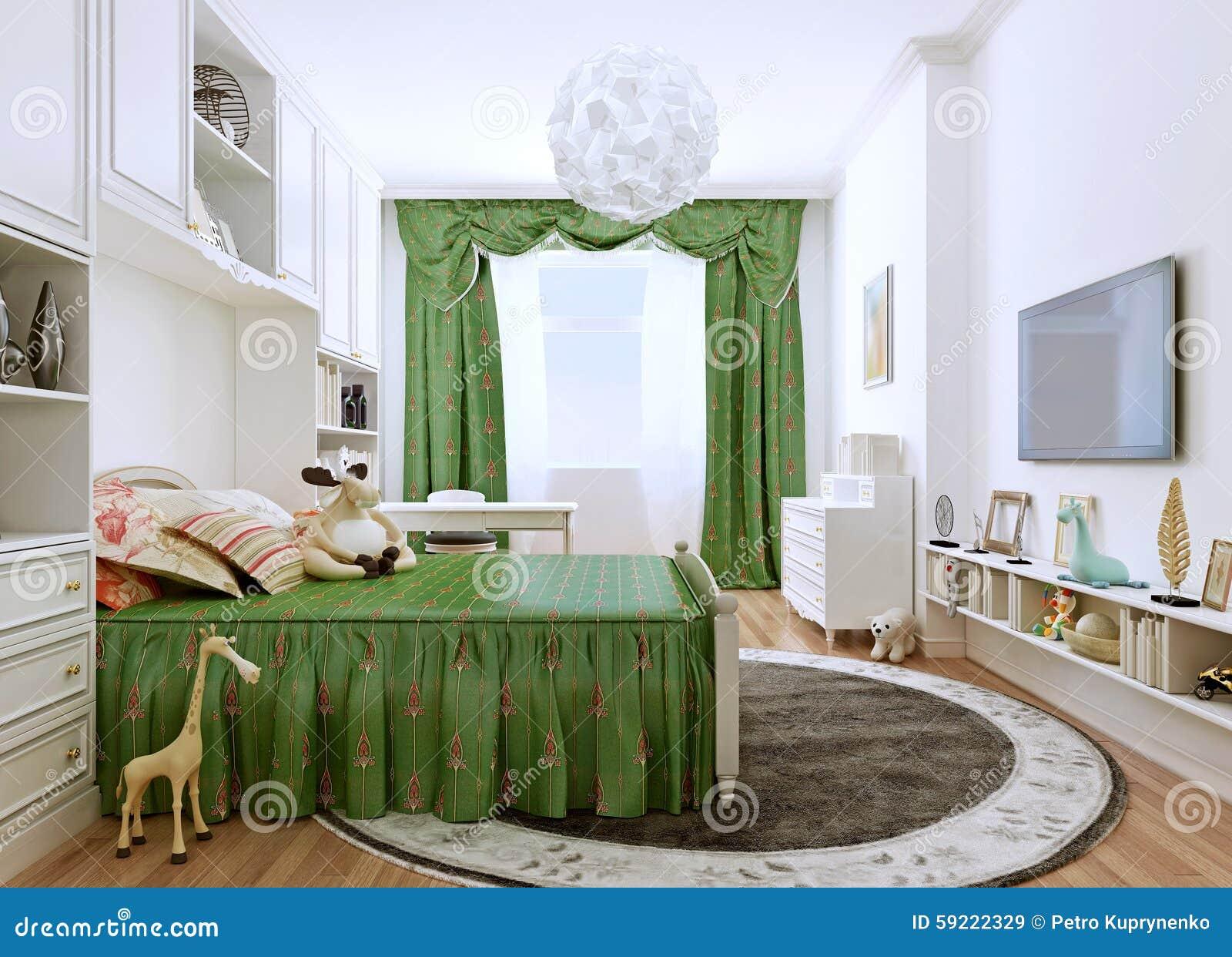 De slaapkamer van kinderen in een klassieke stijl stock afbeelding