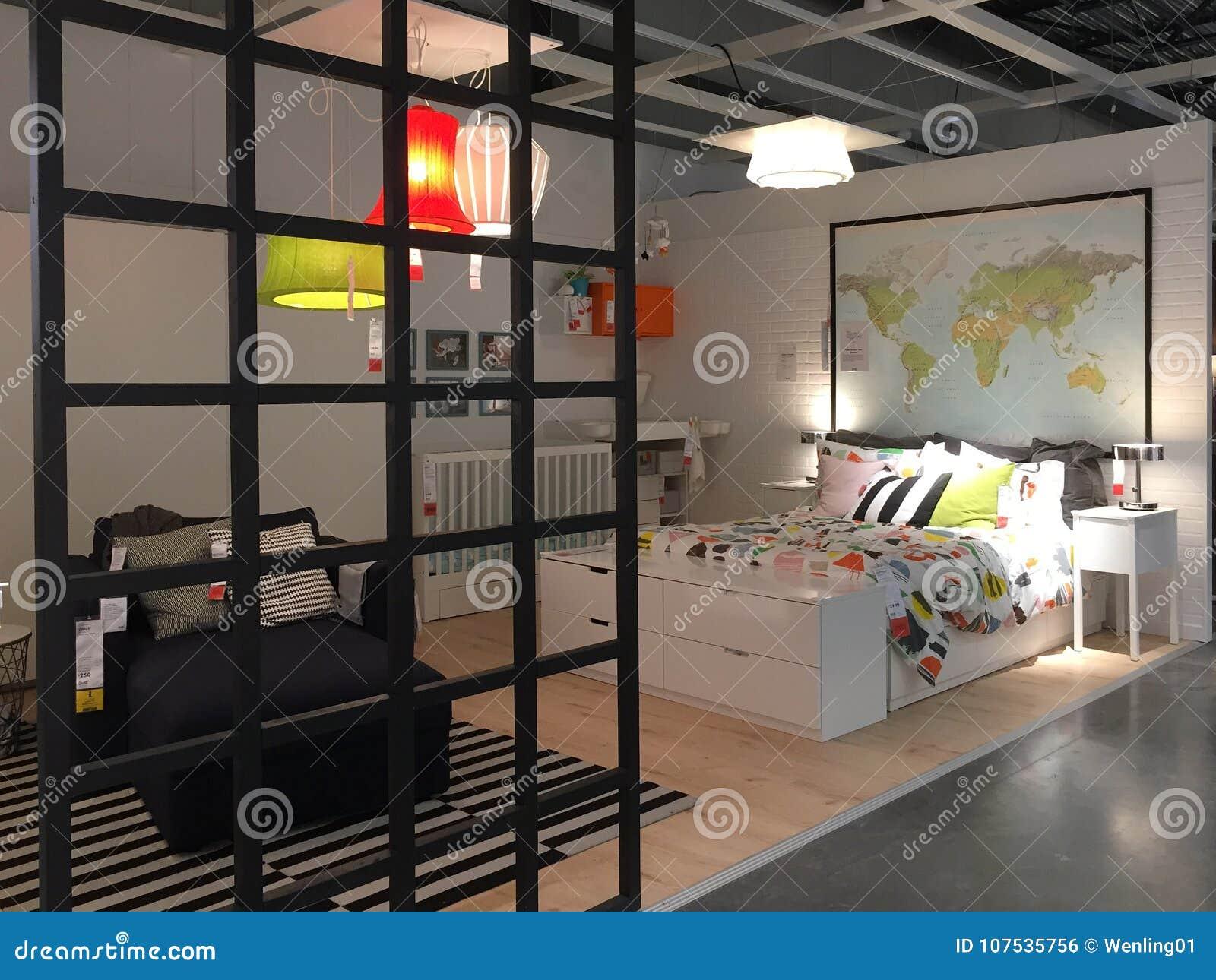 De slaapkamerontwerp van Nice bij opslag IKEA