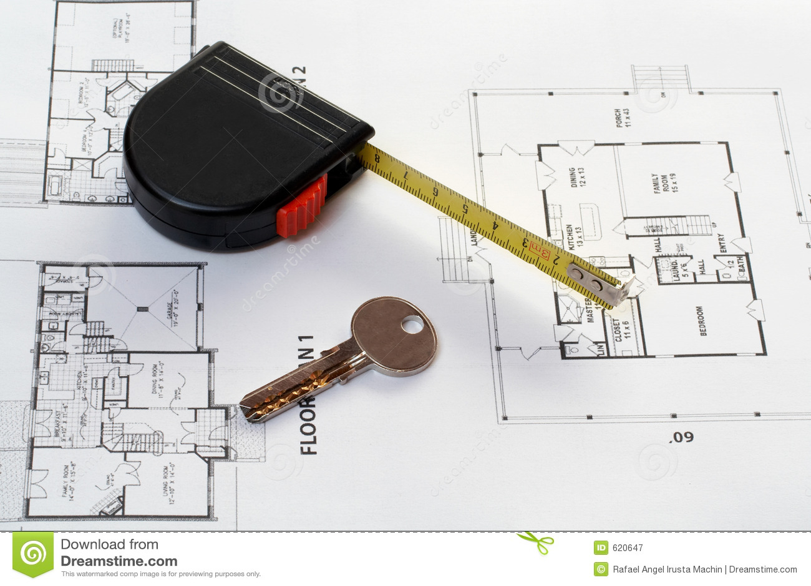 De sleutel van het huis, maatregel en architecturaal plan