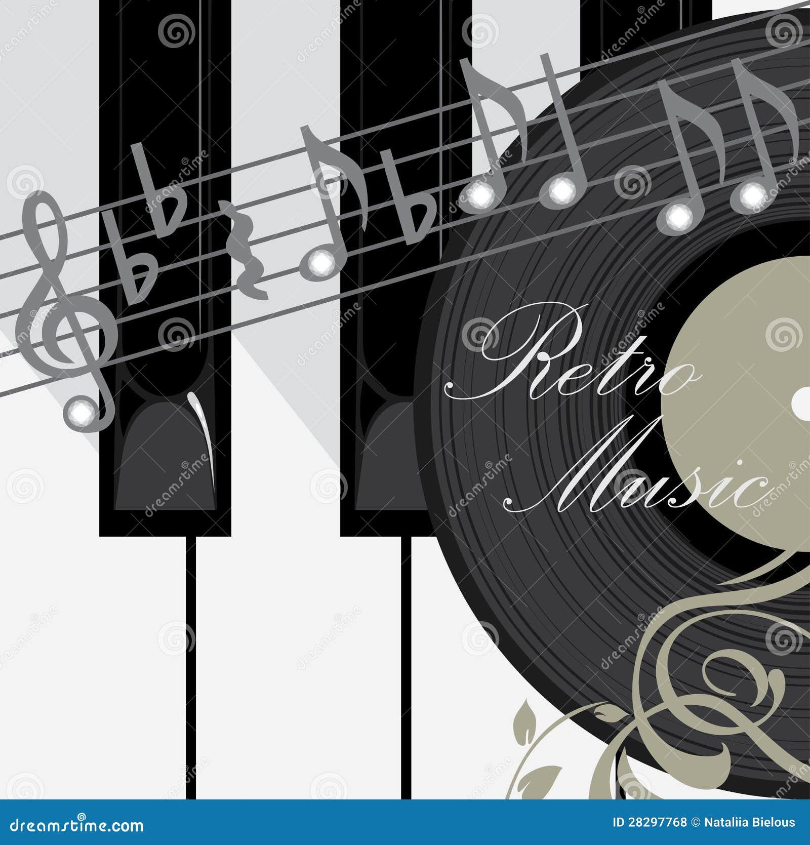 De sleutels, de schijf en de nota s van de piano. De achtergrond van de muziek
