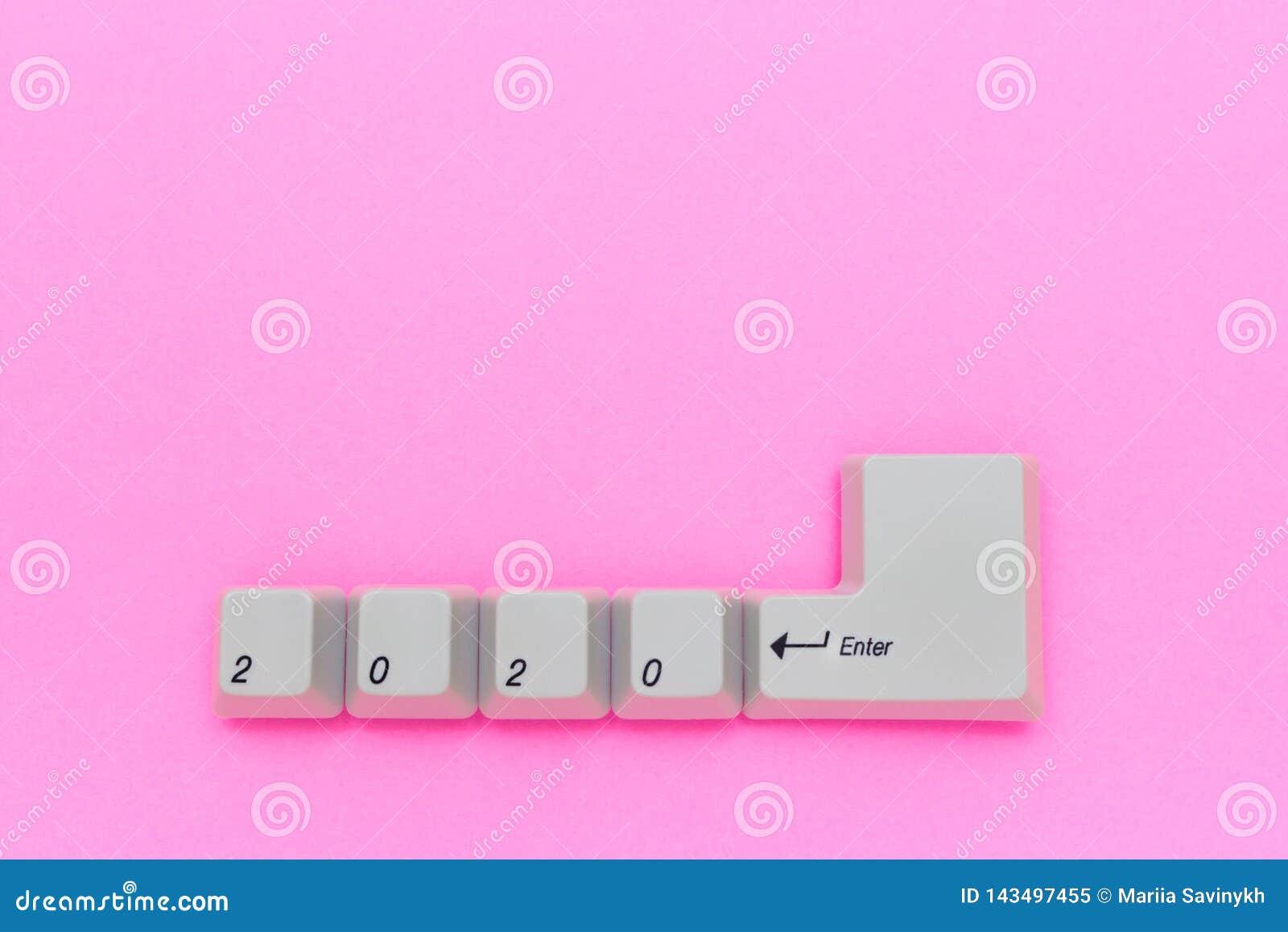 De sleutels van het computertoetsenbord met 2020 gaan geschreven gebruikend de witte knopen op roze achtergrond binnen Het nieuwe