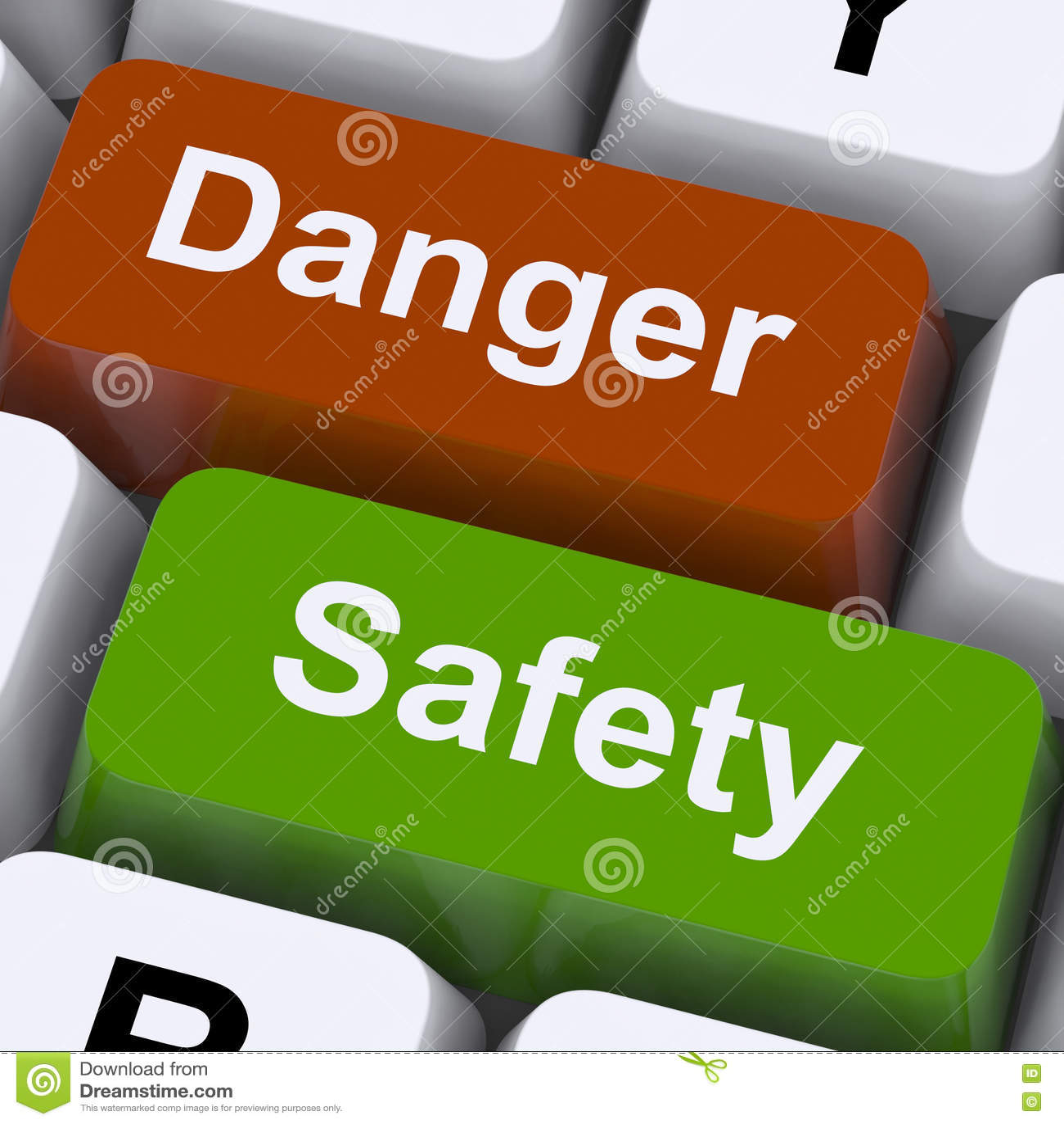 De Sleutels van het gevaar en van de Veiligheid toont Voorzichtigheid en Gevaren