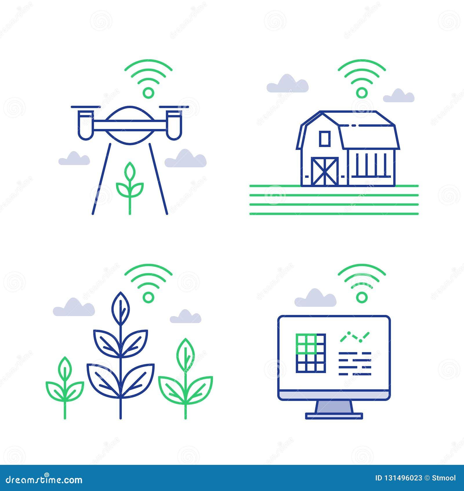 De slimme landbouw, landbouwinnovatie die, ver beheer, gegevens met hommel verzamelen, draadloze technologie, automatiseerde proc