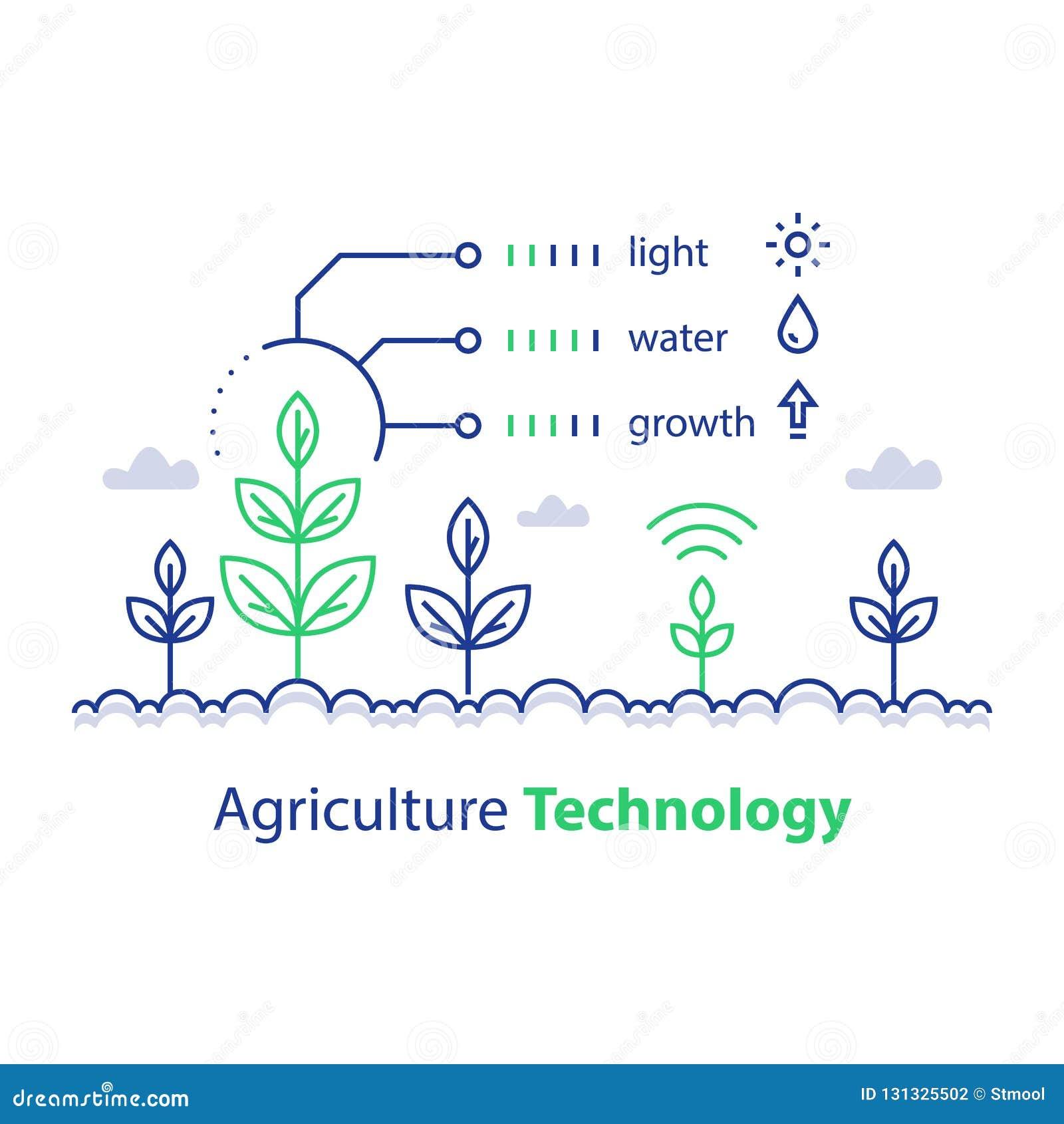 De slimme landbouw, de landbouwtechnologie, de installatiestam en de voorwaarden rapporteren, infographic concept, de groeicontro