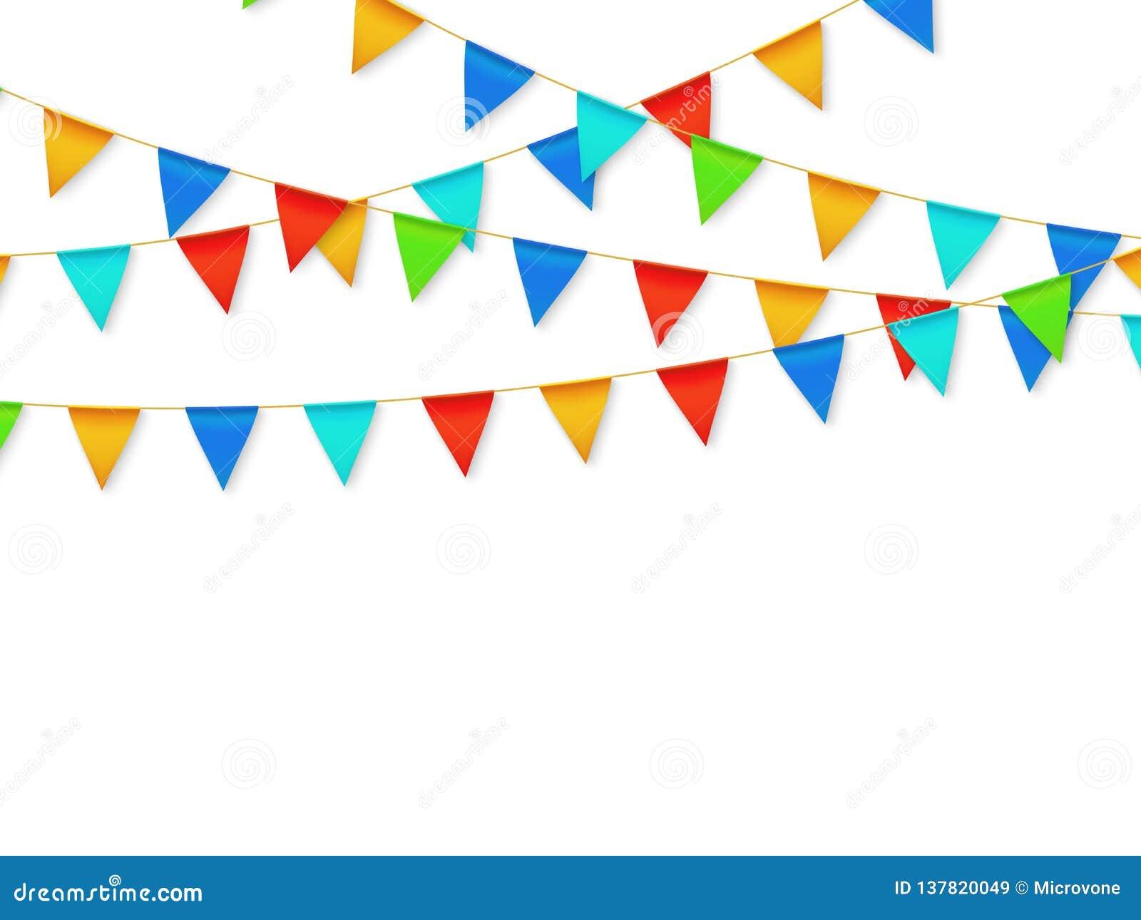 De slinger van de wimpelvlag De decoratie van de fiestacarnaval van de verjaardagspartij De slingers met kleur markeert 3d vector