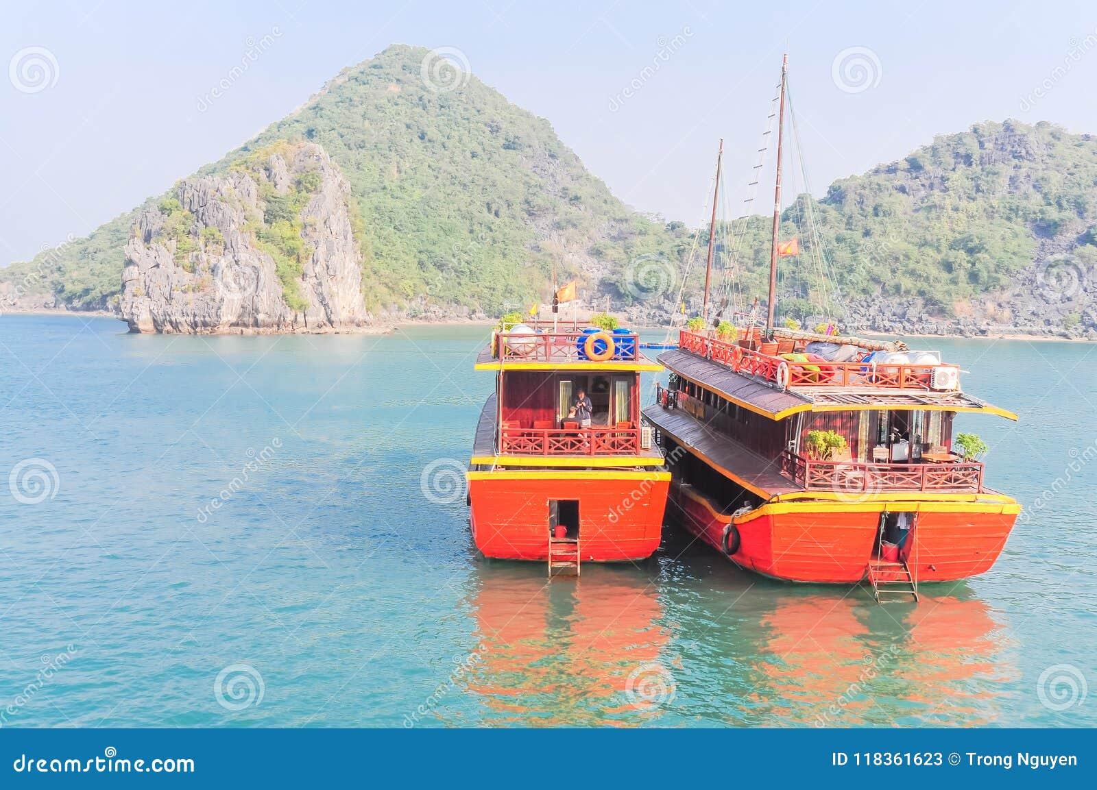 De smaragdgroene wateren en de torenhoge kalksteeneilanden in Ha snakken Baai, Vi