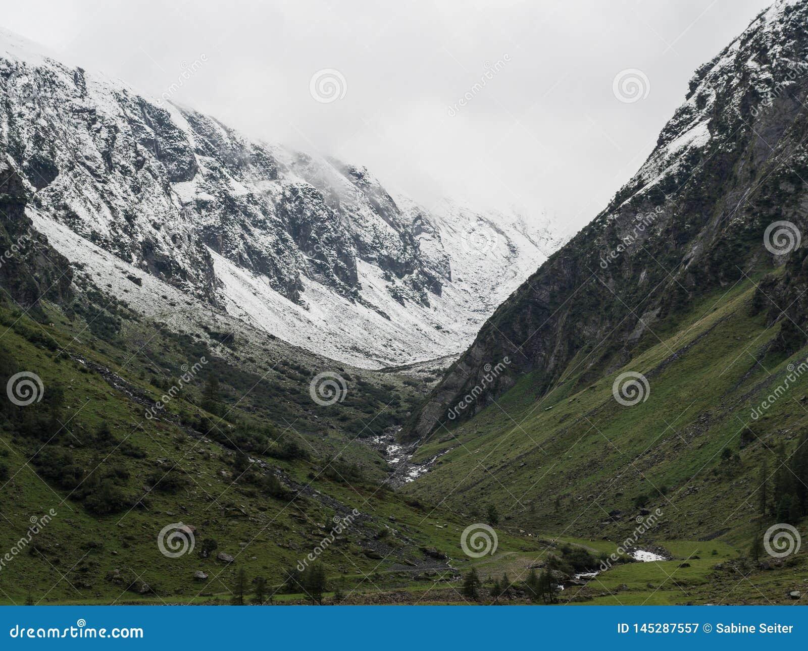 De sneeuw afgedekte mening van de bergenvallei