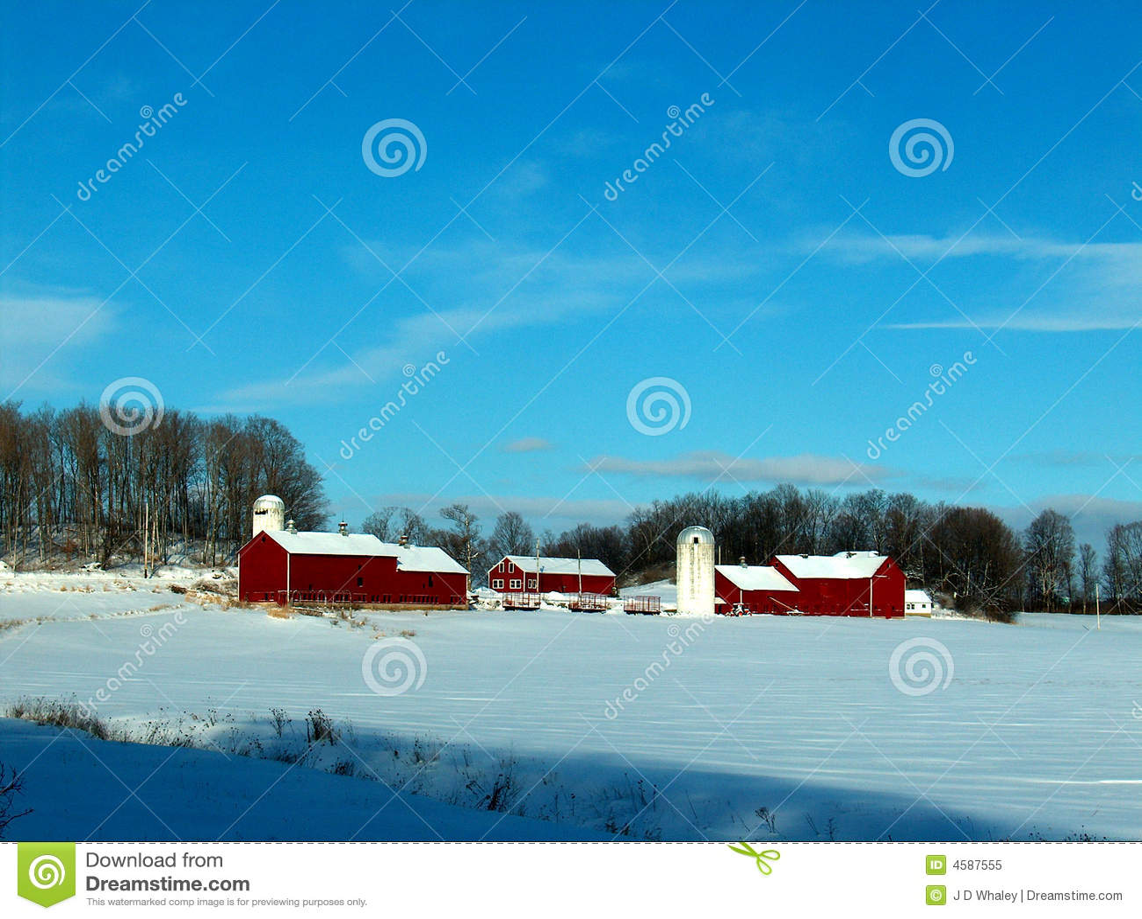 De sneeuw Rode scène van het Landbouwbedrijf