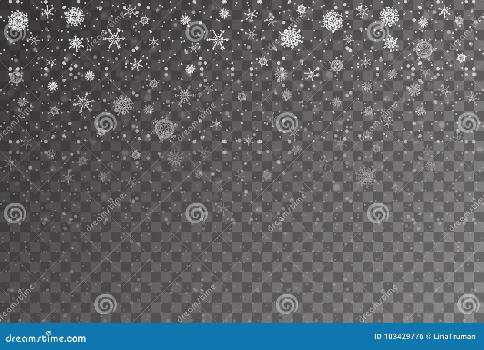 De sneeuw van Kerstmis Dalende sneeuwvlokken op transparante achtergrond