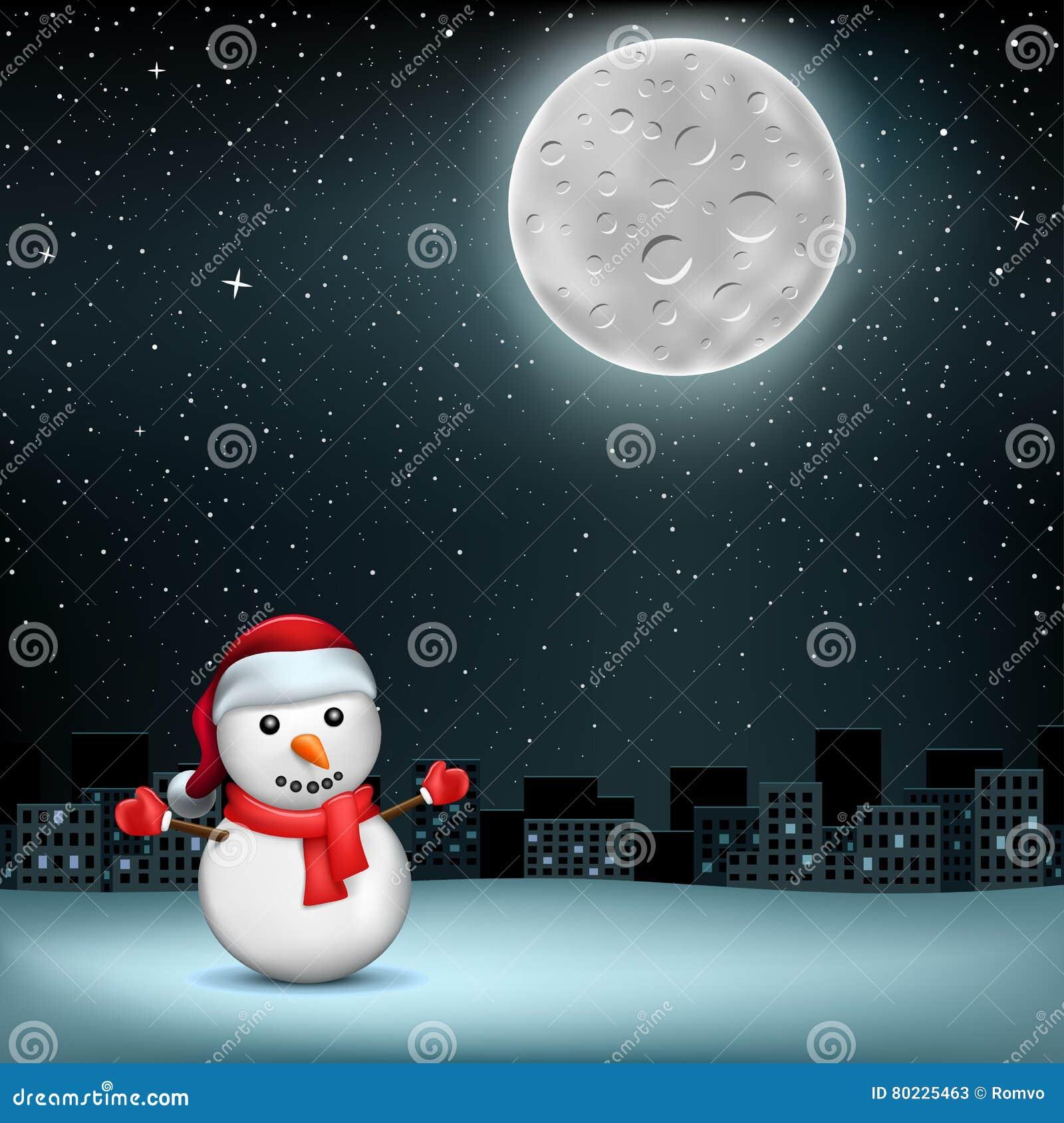 De sneeuwman speelt sity maan mee