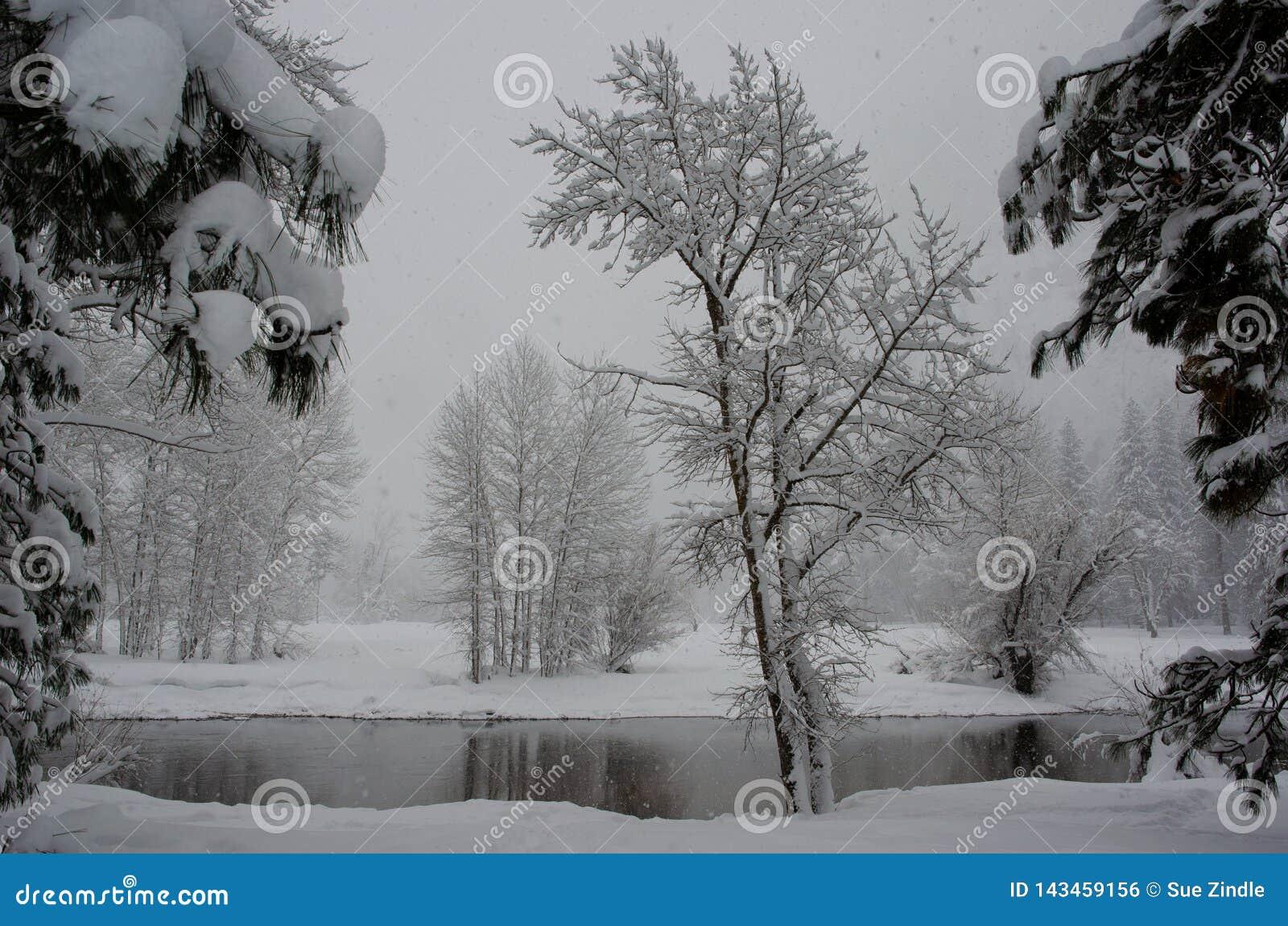 De sneeuwrivier van Scènemerced