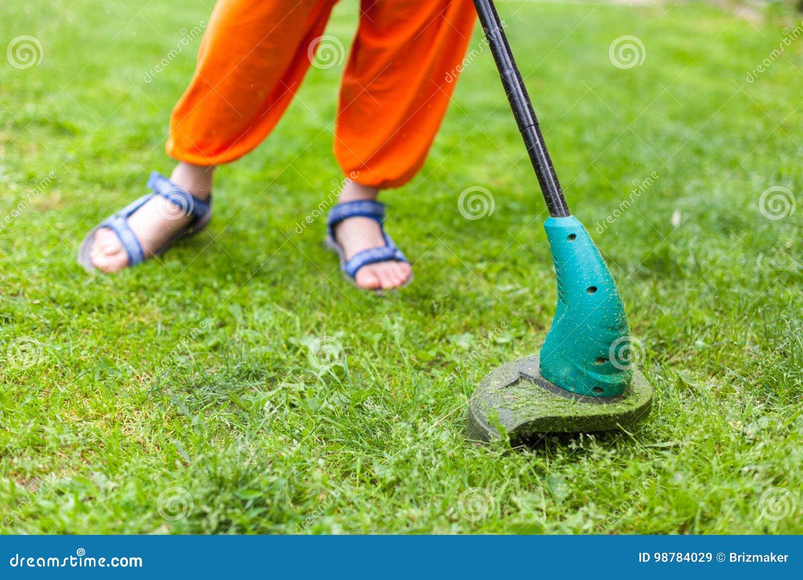 De snoeischaar van het benzinegazon maait sappig groen gras op een gazon op een zonnige de zomerdag Beeld van de close-up het sel