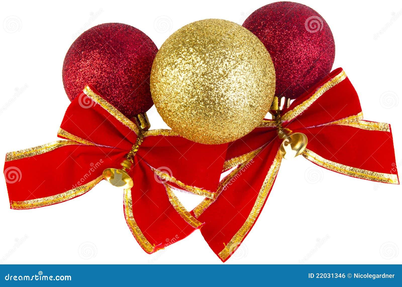 De snuisterijen van Kerstmis met rode bogen