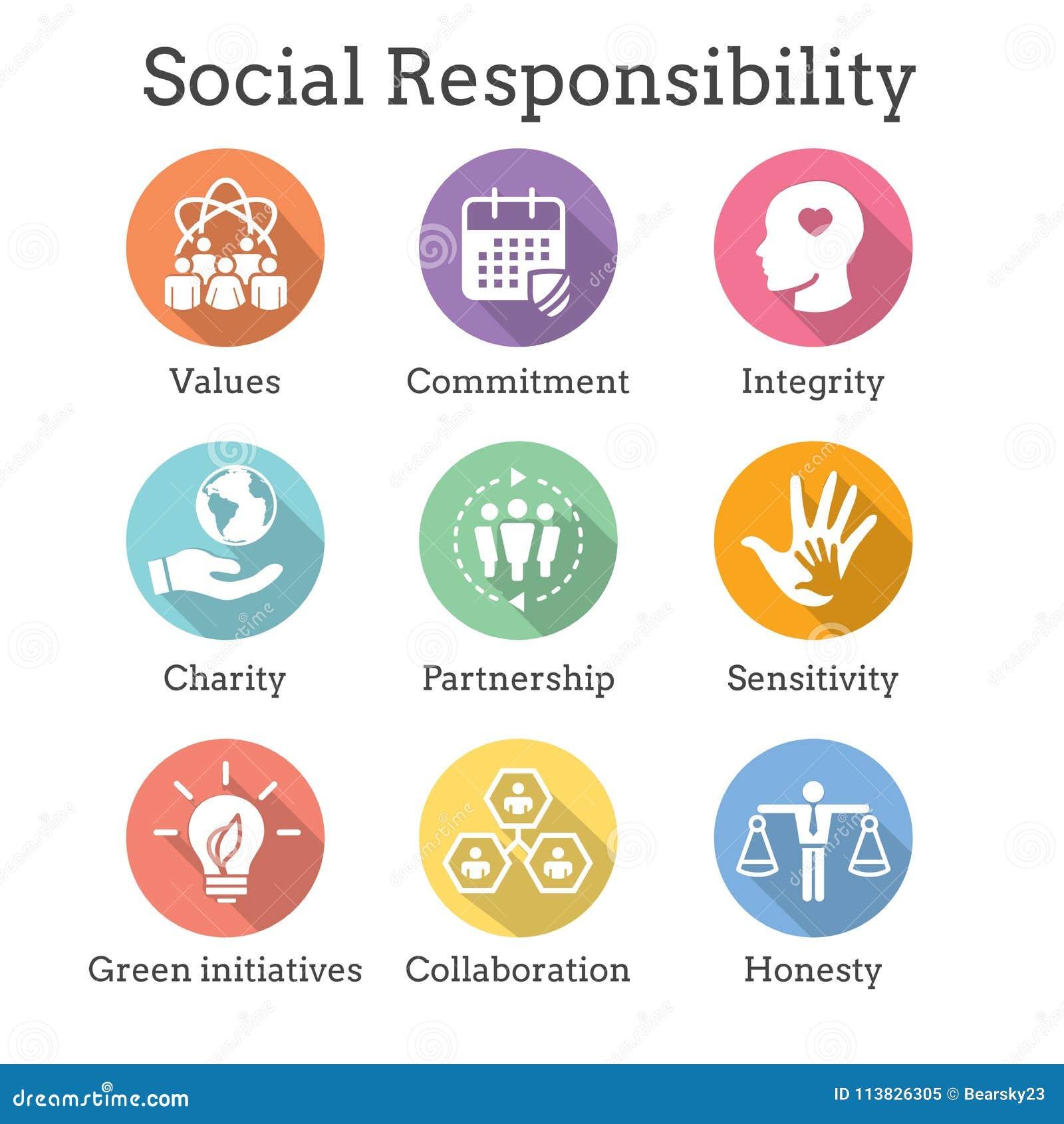De sociale Eerlijkheid, de integriteit, & col. van het Verantwoordelijkheids Stevige Pictogram Vastgestelde w