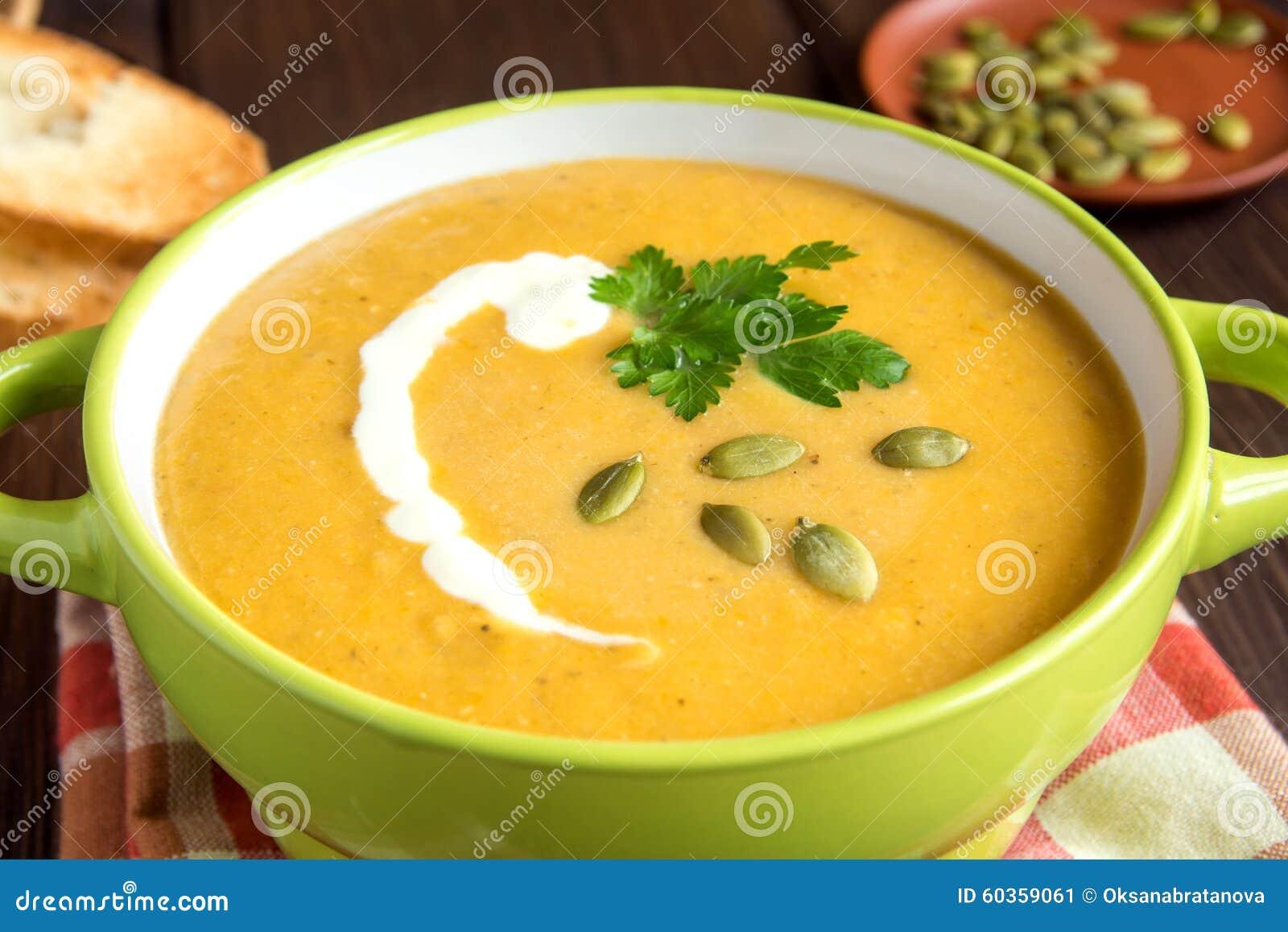 De soep van de pompoenroom