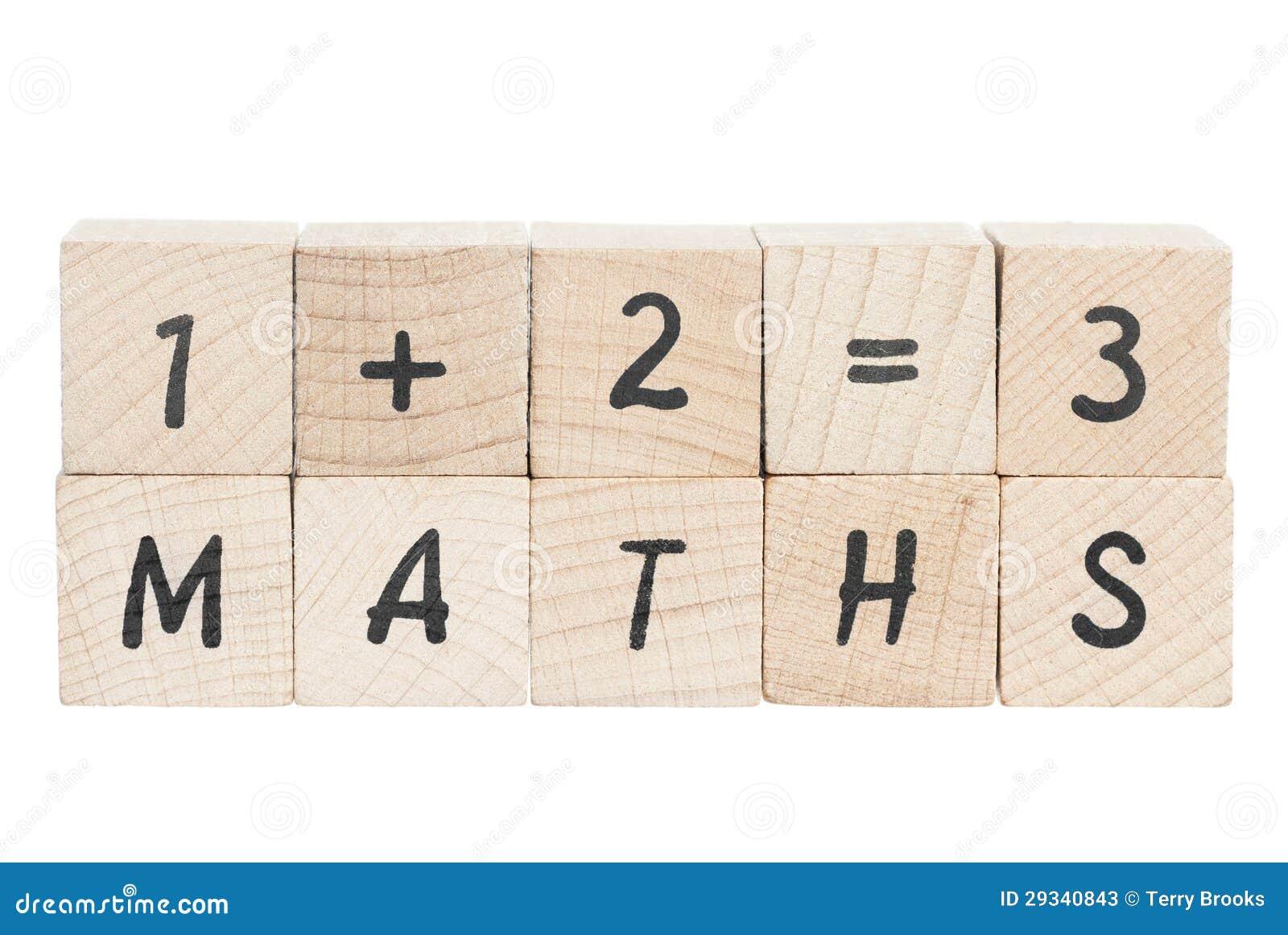 De Som Van Wiskunde Met Houten Blokken Stock Afbeelding