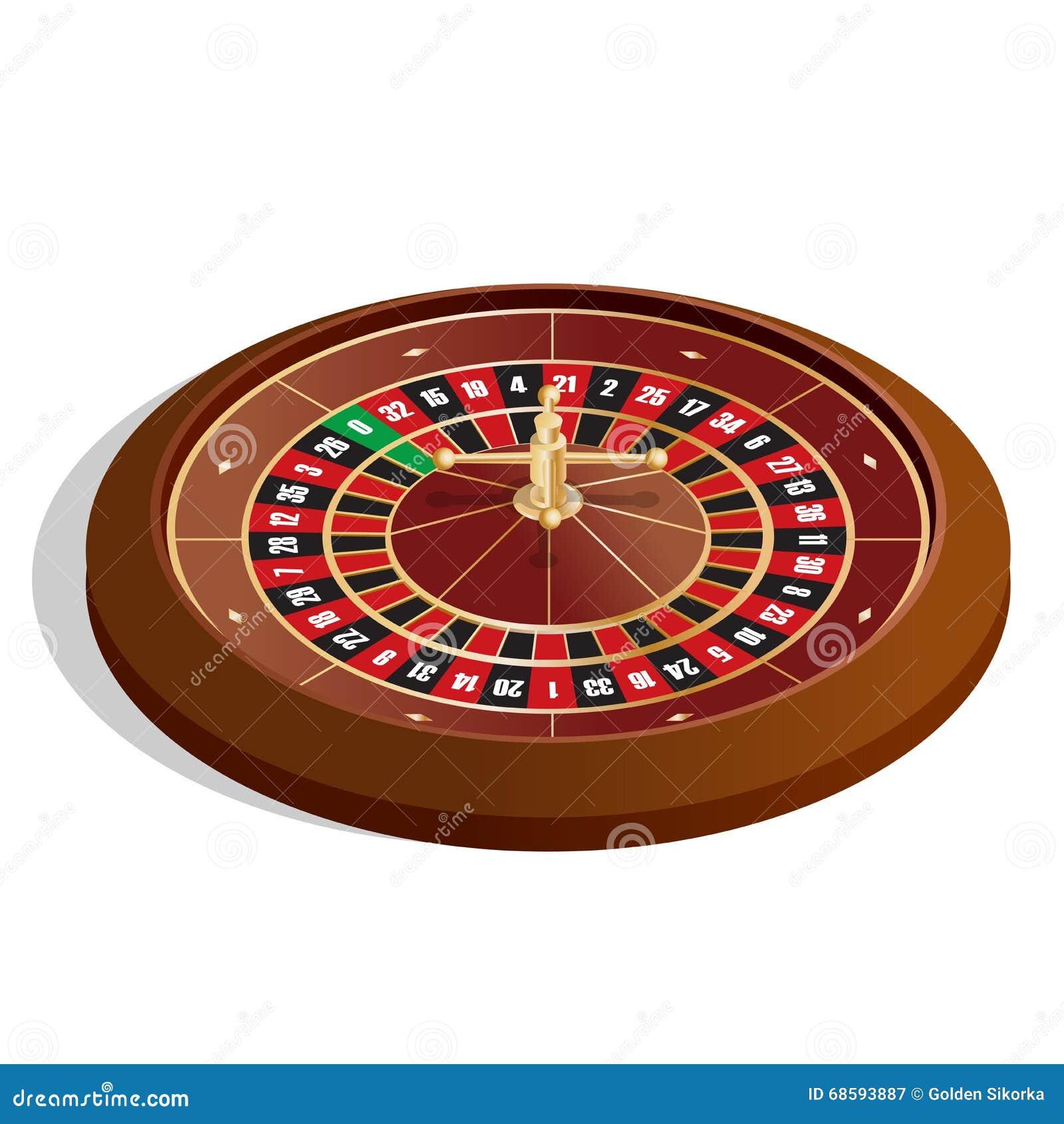 De spaanders & de roulette van de pook 3d beeld Realistisch die casino het gokken roulettewiel op witte vectorillustratie wordt g