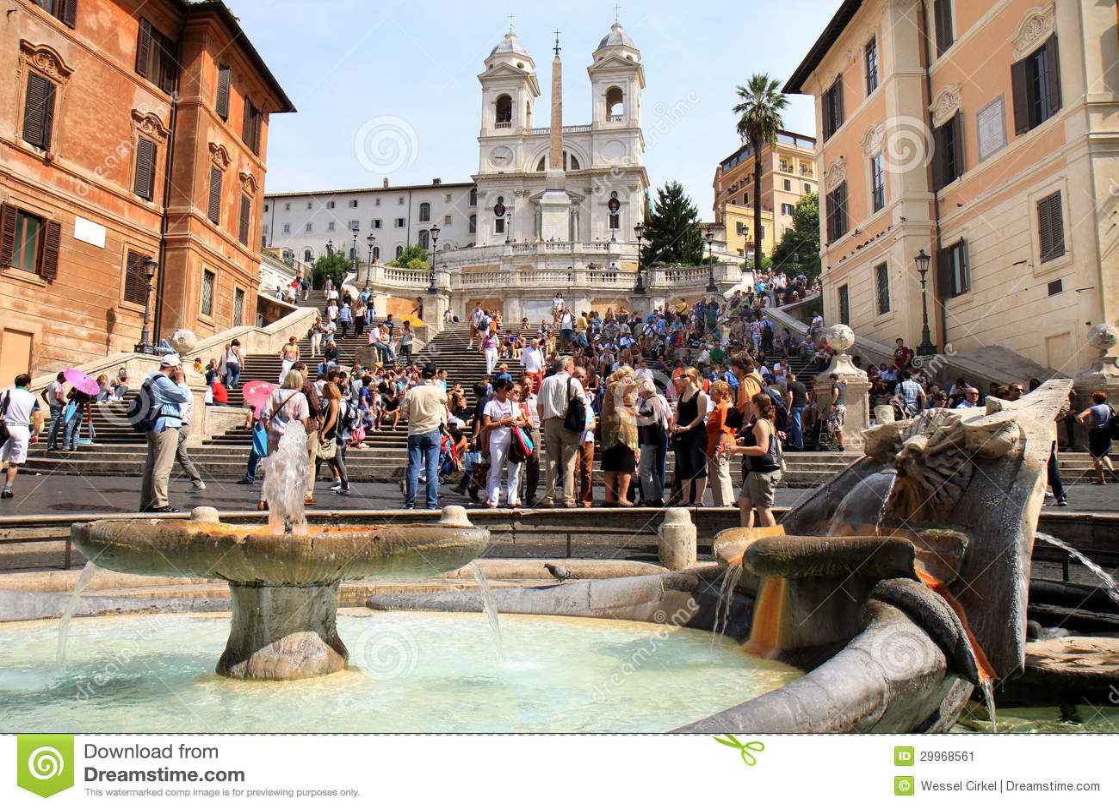 Spaanse Stappen en vroege barokke fontein, Rome