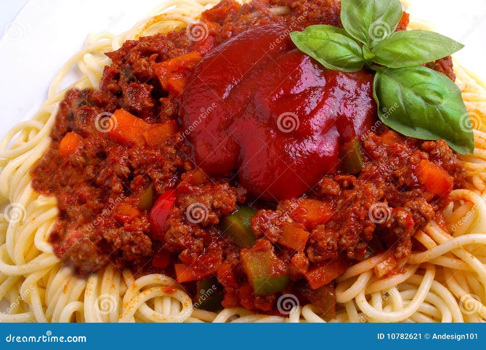 De spaghetti Bolognese van het gehakt