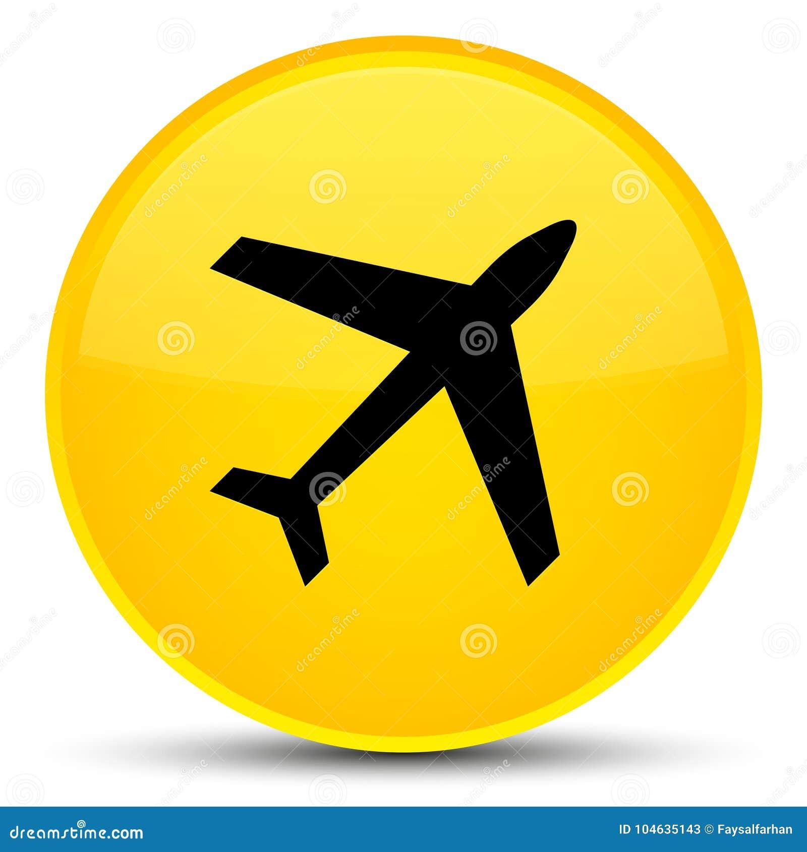Download De Speciale Gele Ronde Knoop Van Het Vliegtuigpictogram Stock Illustratie - Illustratie bestaande uit vlieg, luchtvaartlijn: 104635143
