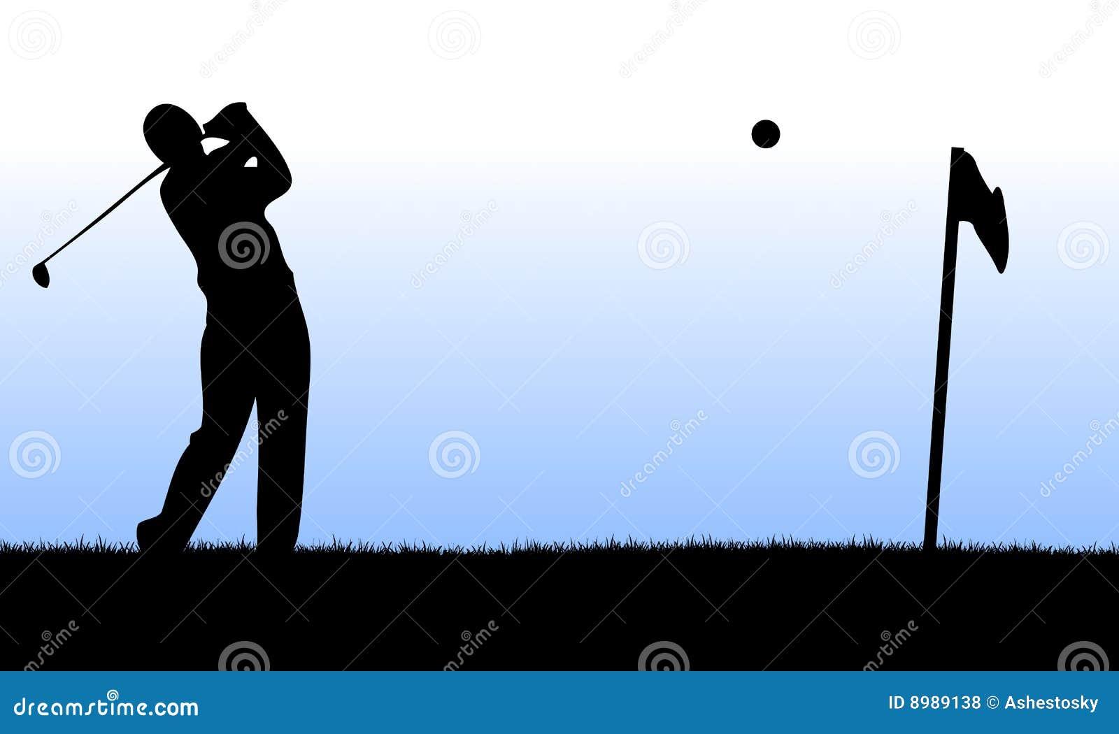 De speler die van het golf een lancering uitvoert