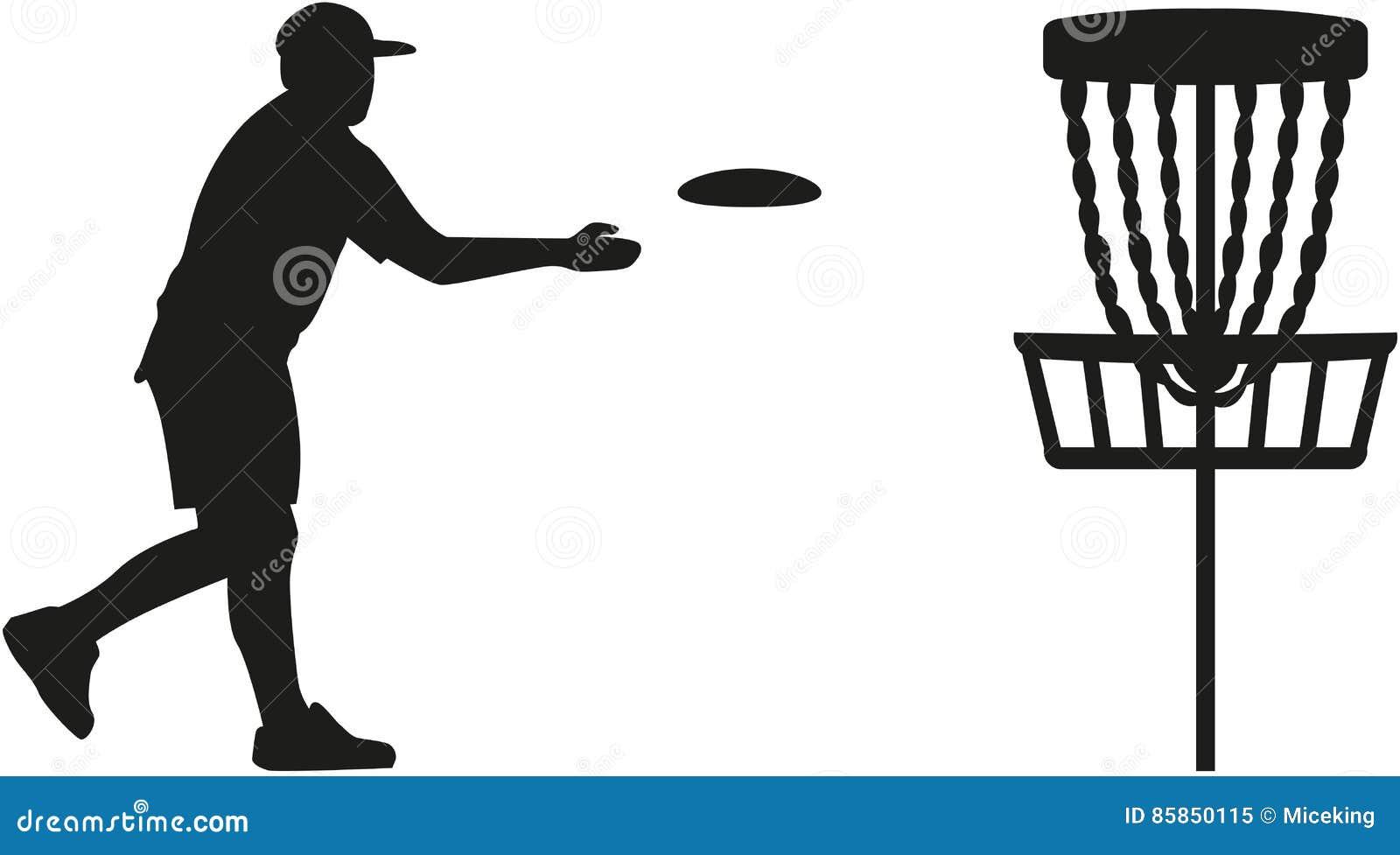De speler die van het schijfgolf een schijf in de mand werpen