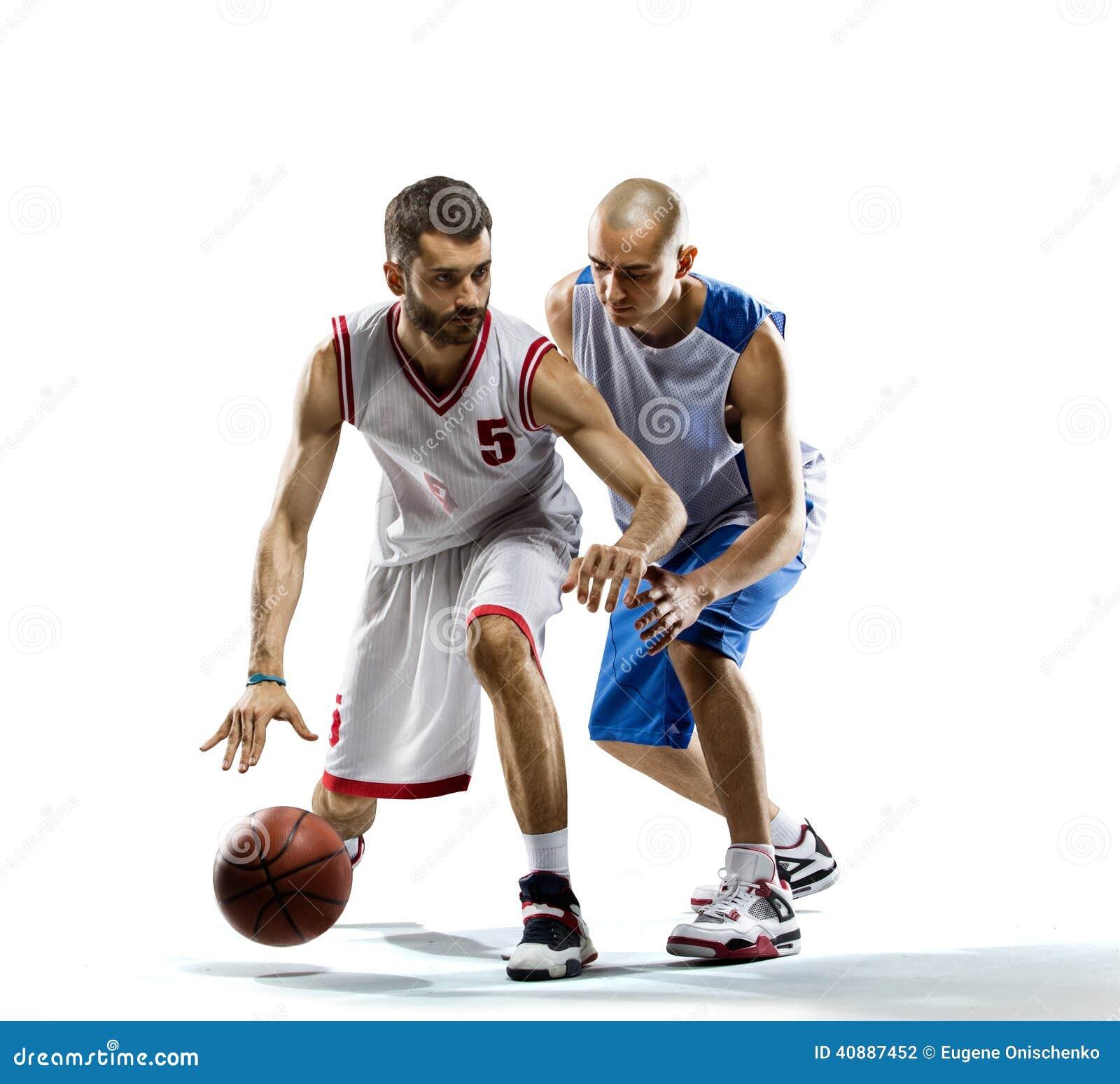De speler van het basketbal in actie