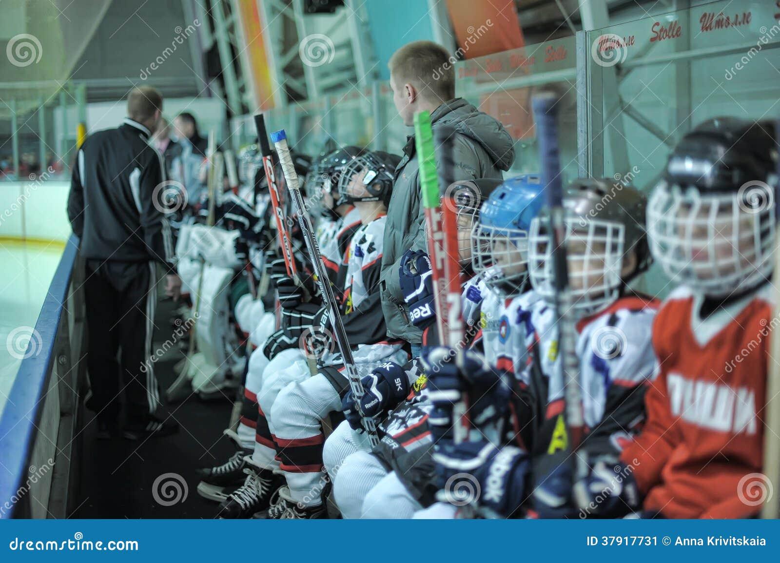De spelers van het jonge geitjeshockey