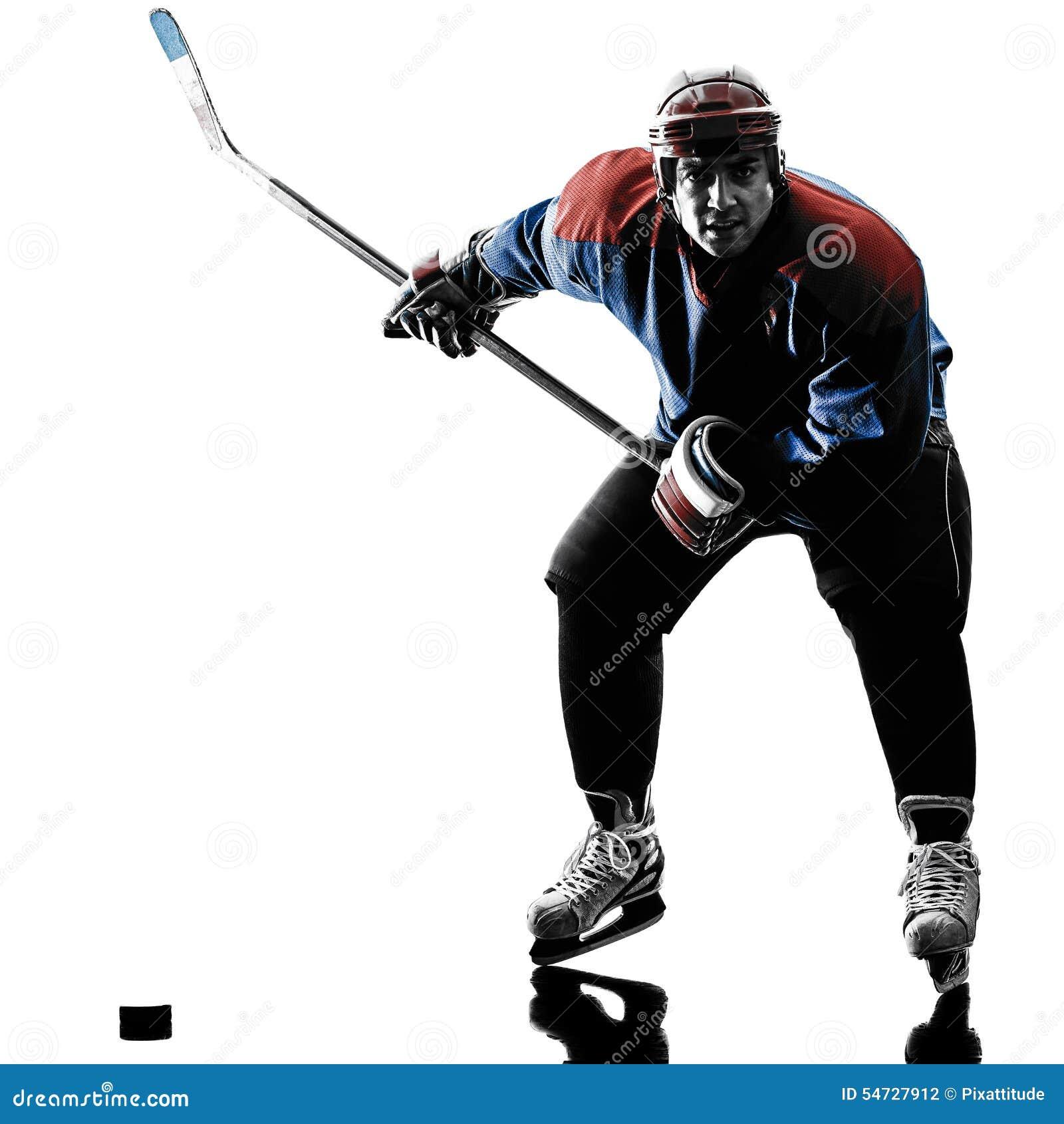 De spelersilhouet van de ijshockeymens