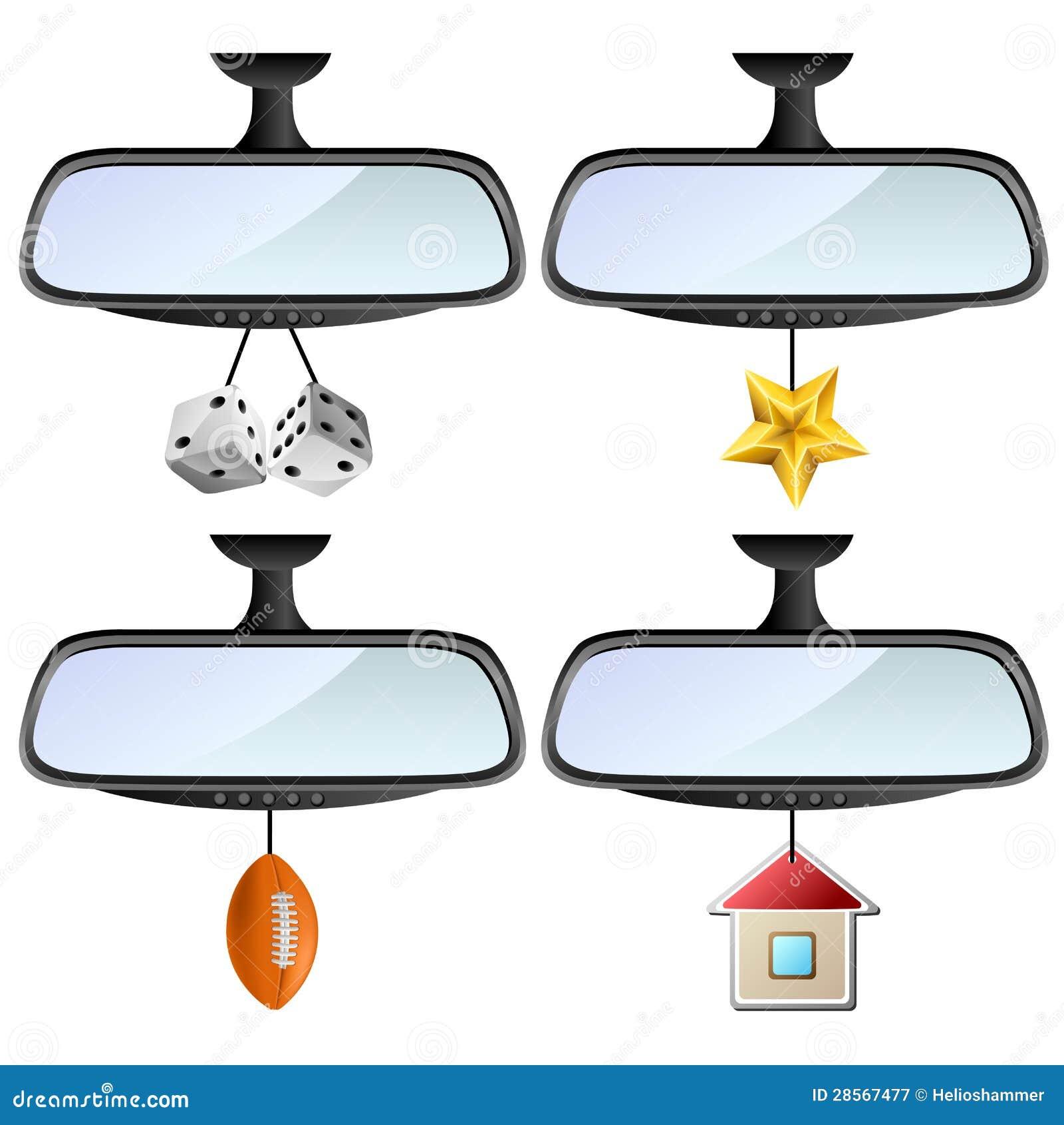 De Spiegel Van De Auto Met Verschillende Decoratie Wordt Geplaatst Die Vector Illustratie Illustration Of Blauw Dobbel 28567477