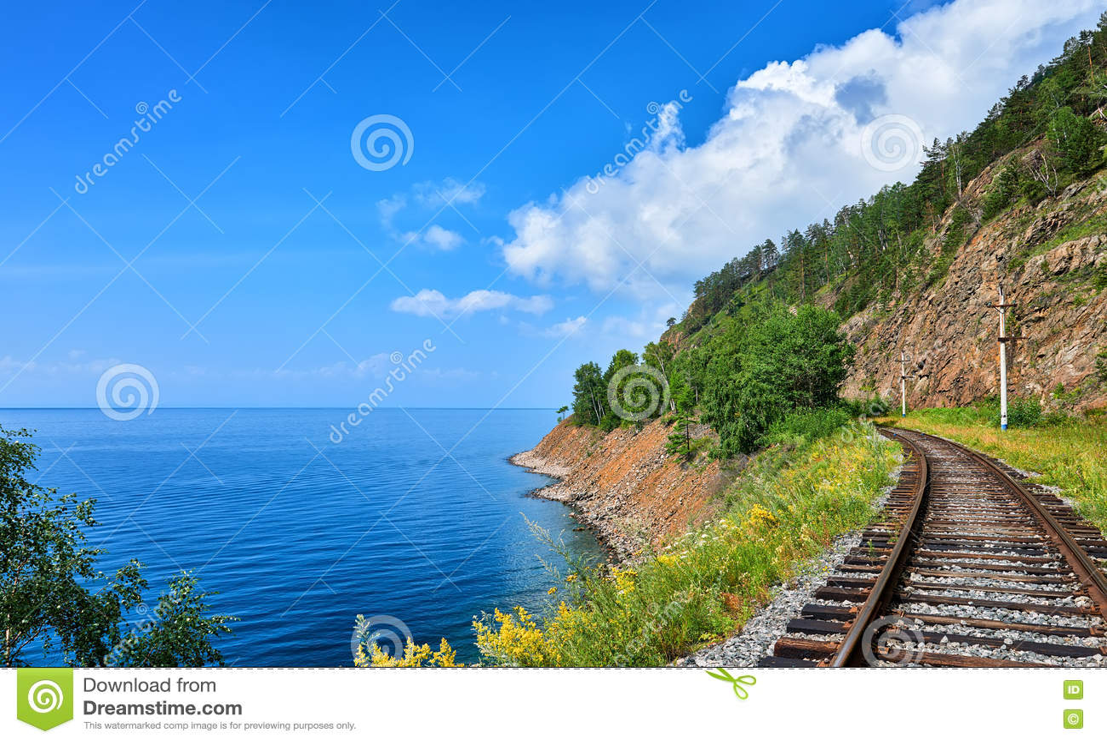 De spoorweg van perceel circum-Baikal dichtbij steile bank van Meer Baikal