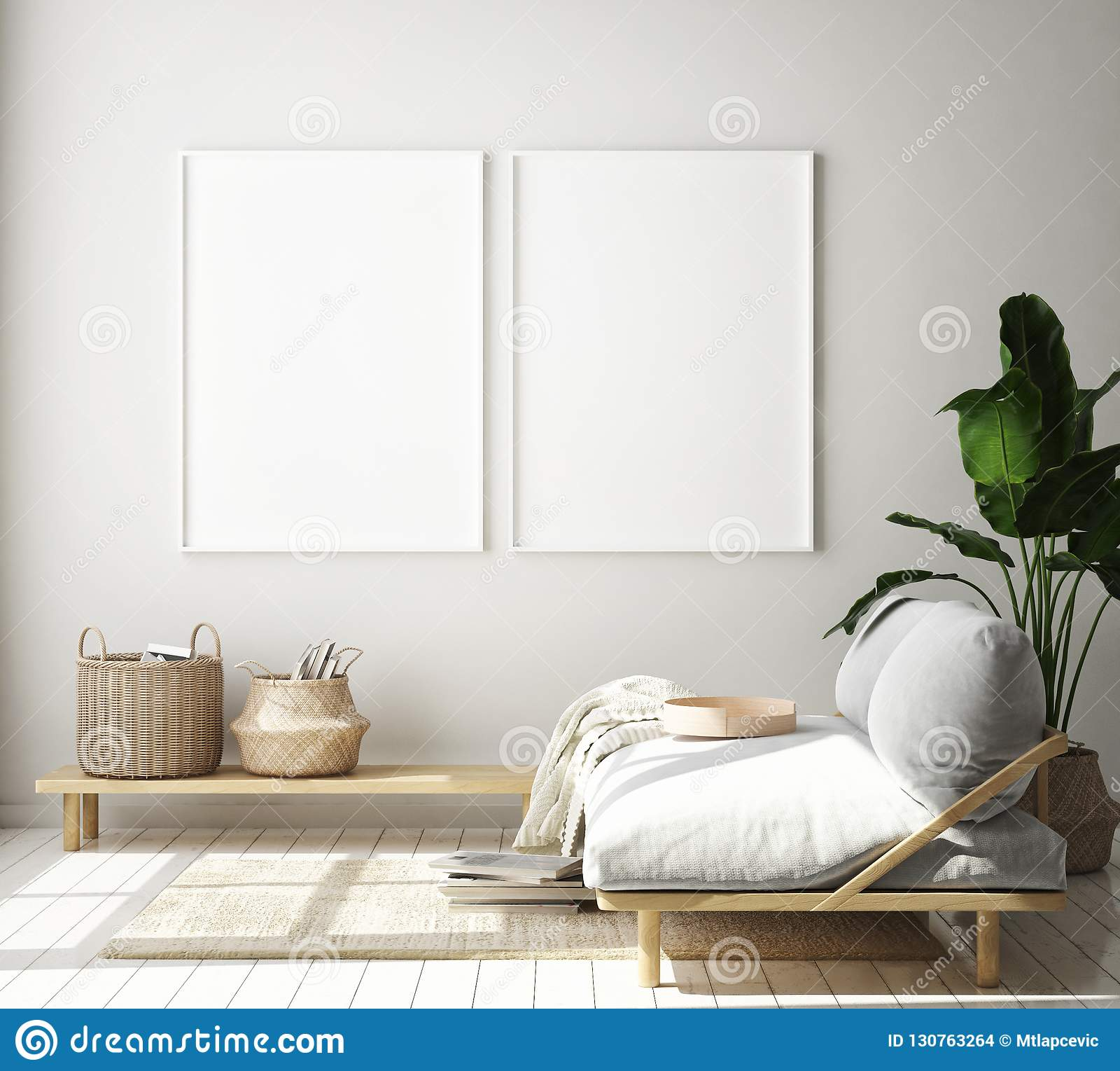 De spot op affichekader op hipster binnenlandse achtergrond, woonkamer, Skandinavische 3D stijl, geeft, 3D illustratie terug