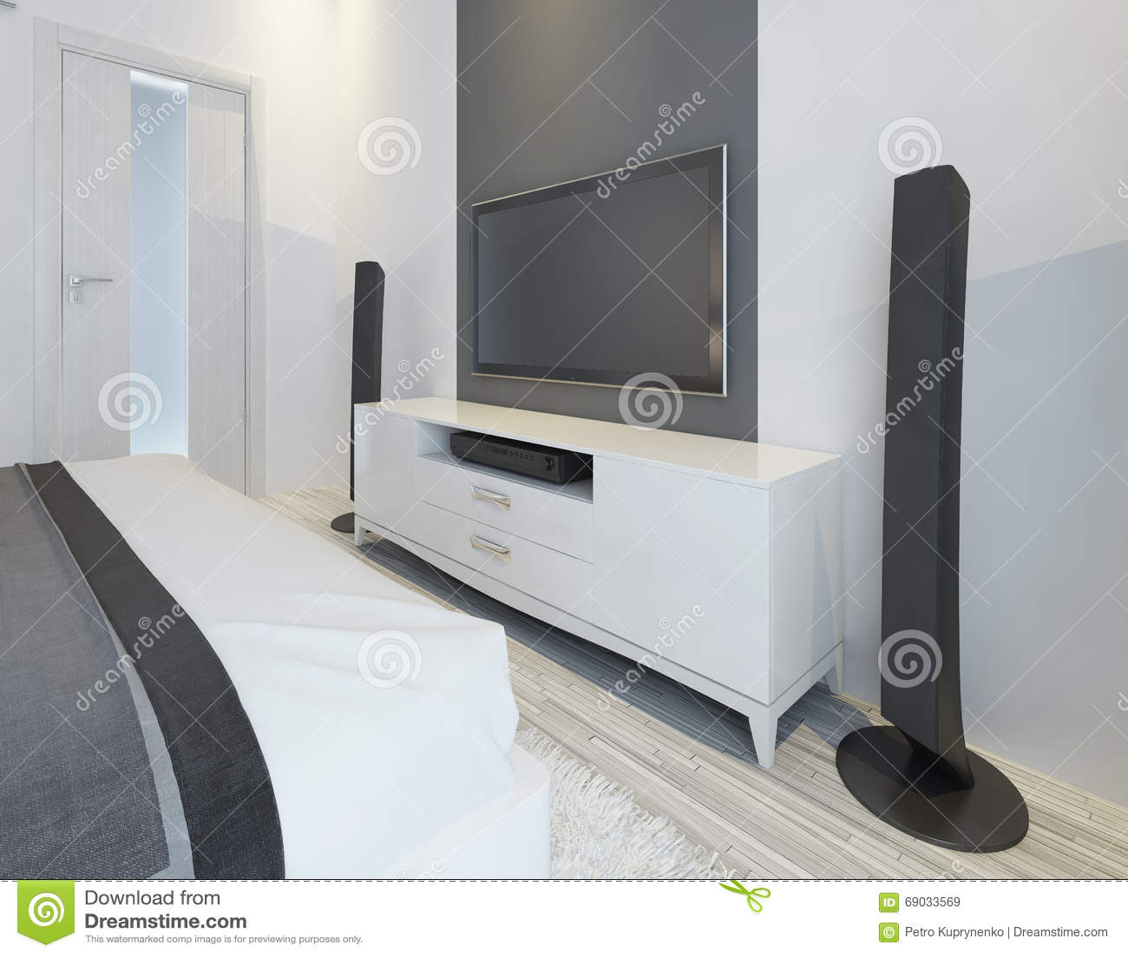 de sprekers van tv en van de muziek in moderne lichte slaapkamer, Deco ideeën