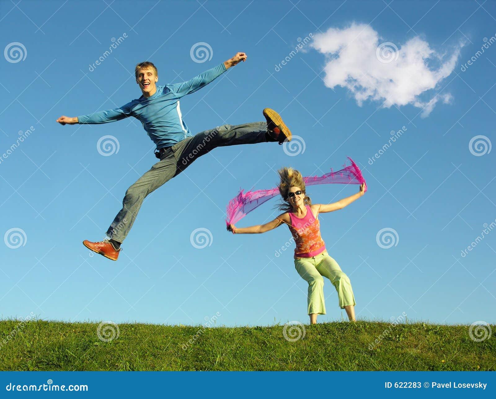 De sprong van het paar