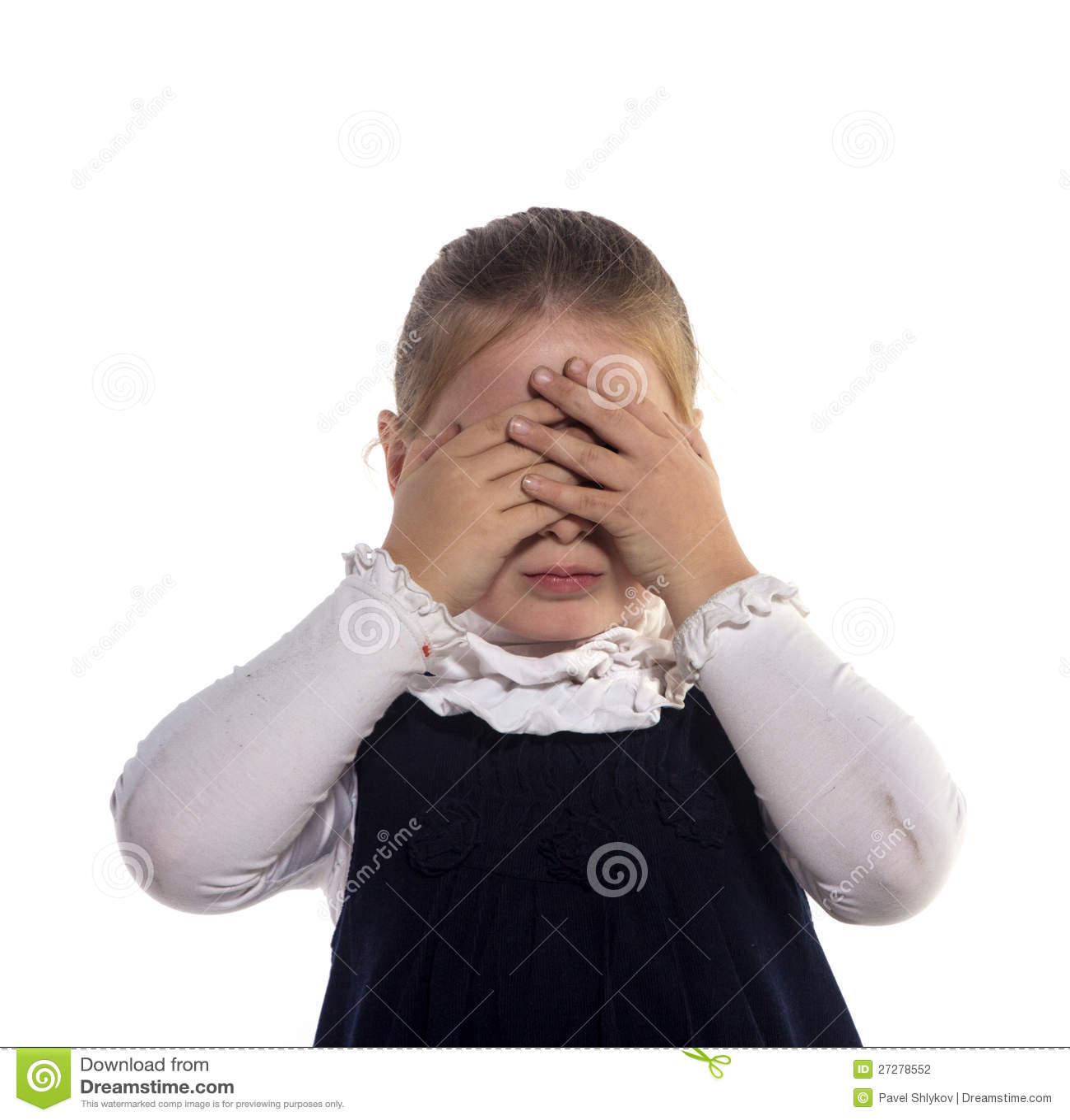 De stängda ögonhänderna för flicka