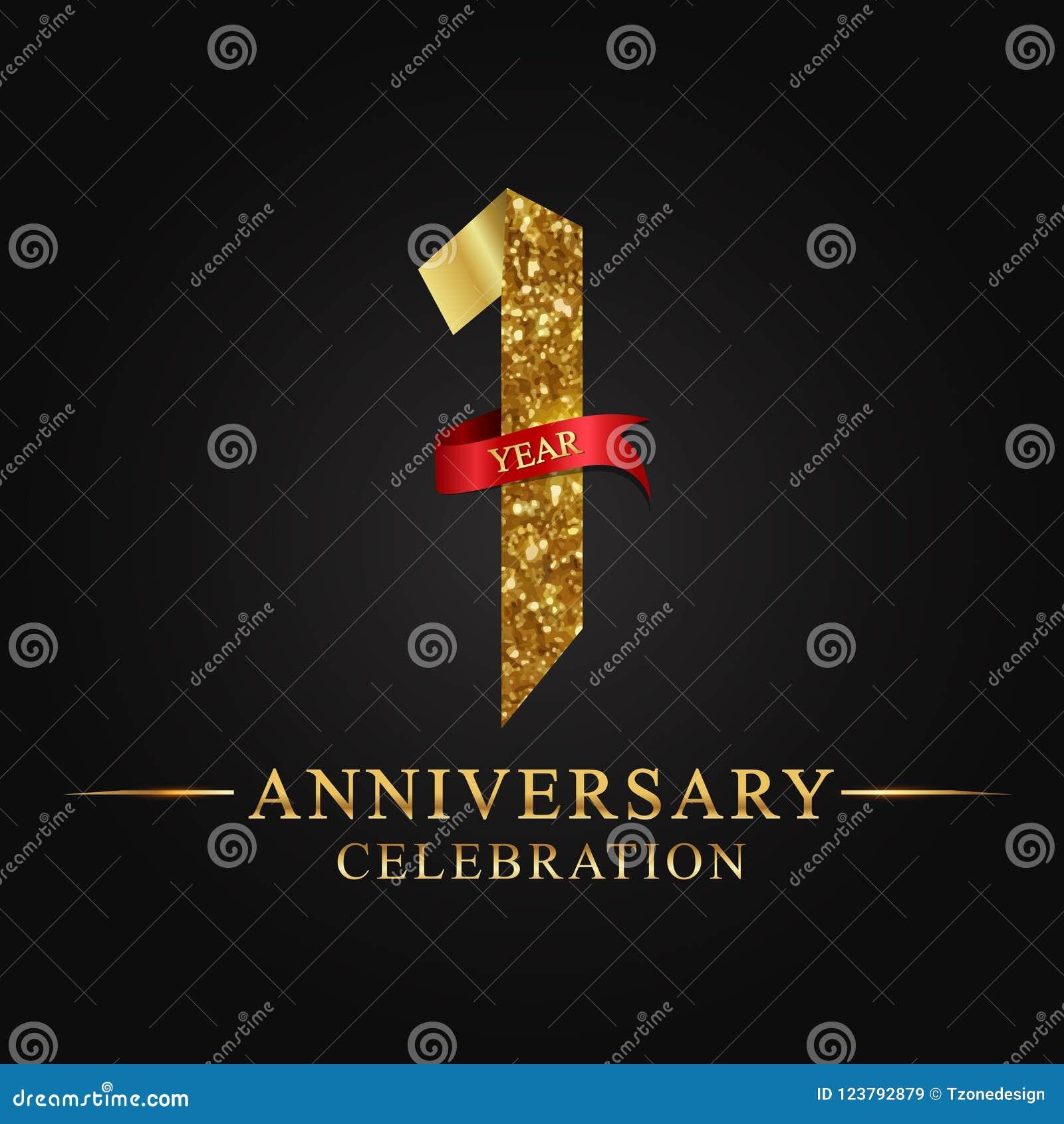 De 1st viering van verjaardagsjaren logotype Het gouden aantal van het embleemlint en rood lint op zwarte achtergrond