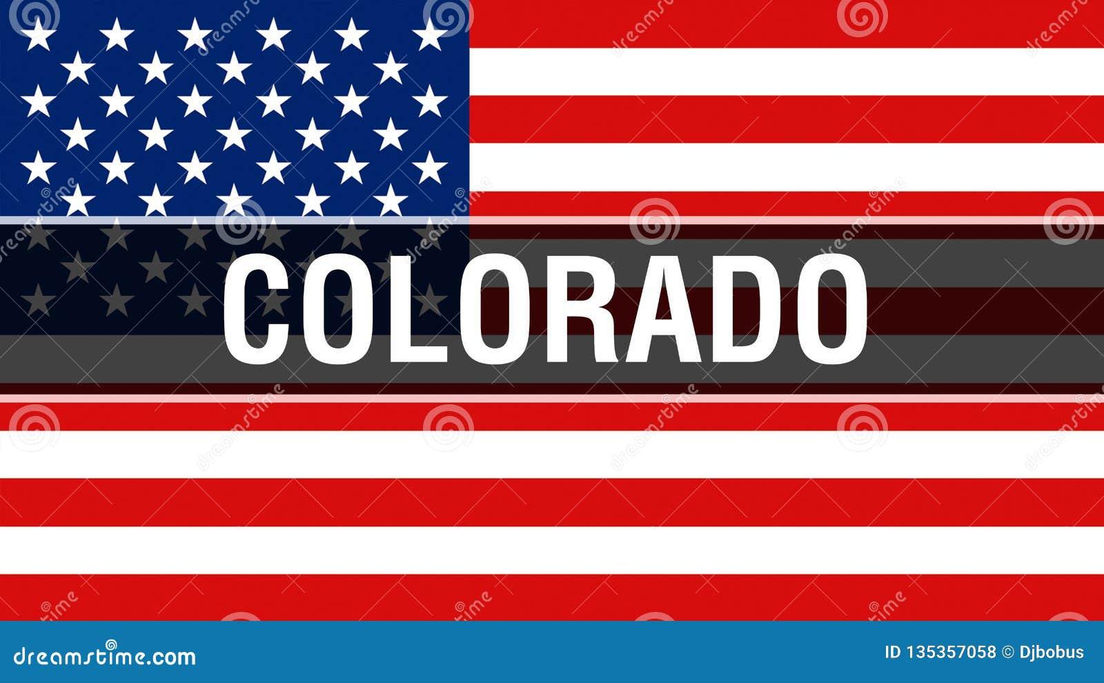 De staat van Colorado op een de vlagachtergrond van de V.S., het 3D teruggeven De vlag die van de Verenigde Staten van Amerika in