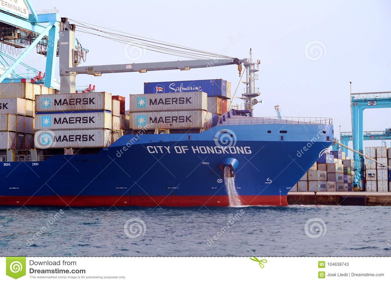 Download De Stad Die Van Het Containerschip Van Hongkong Met Containerskranen Werken Redactionele Stock Foto - Afbeelding bestaande uit ketting, sturen: 104638743