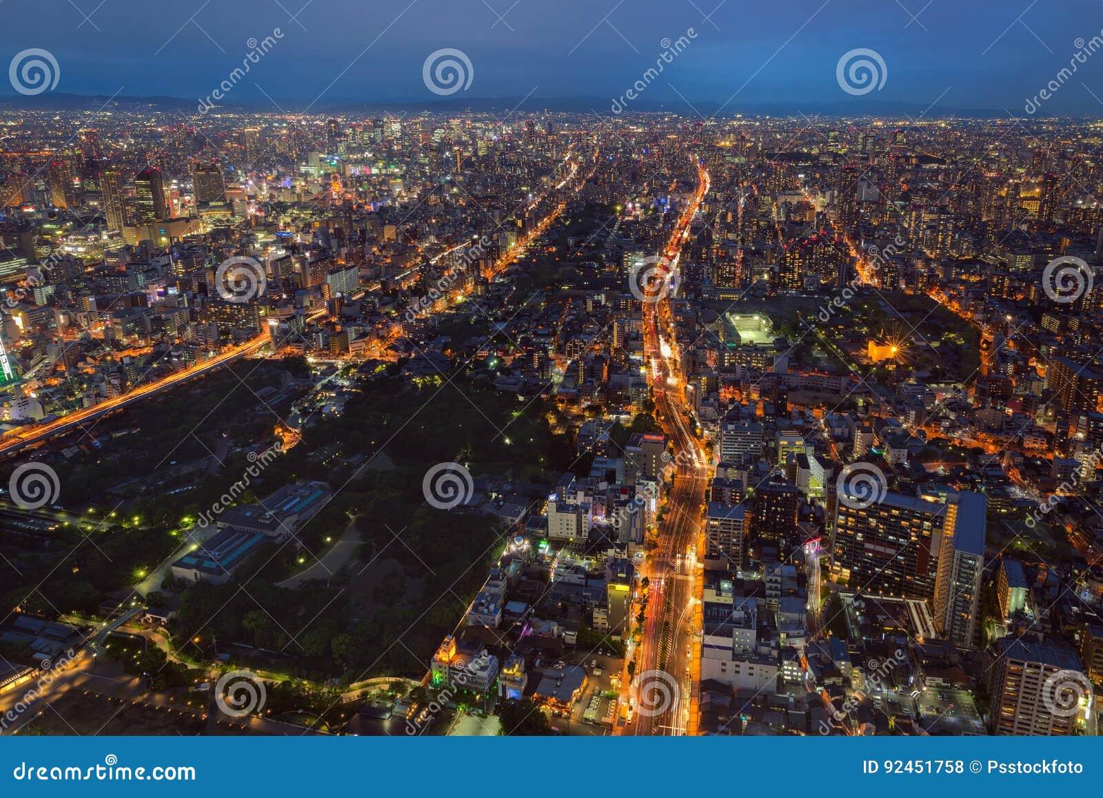 De stad en de horizon van Osaka