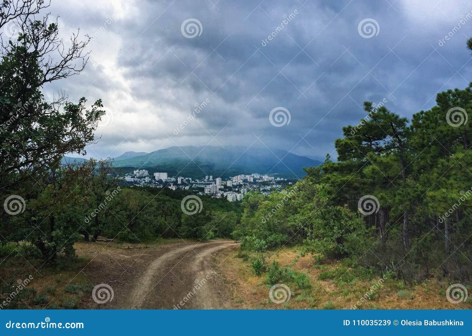 De stad in de groene bergen