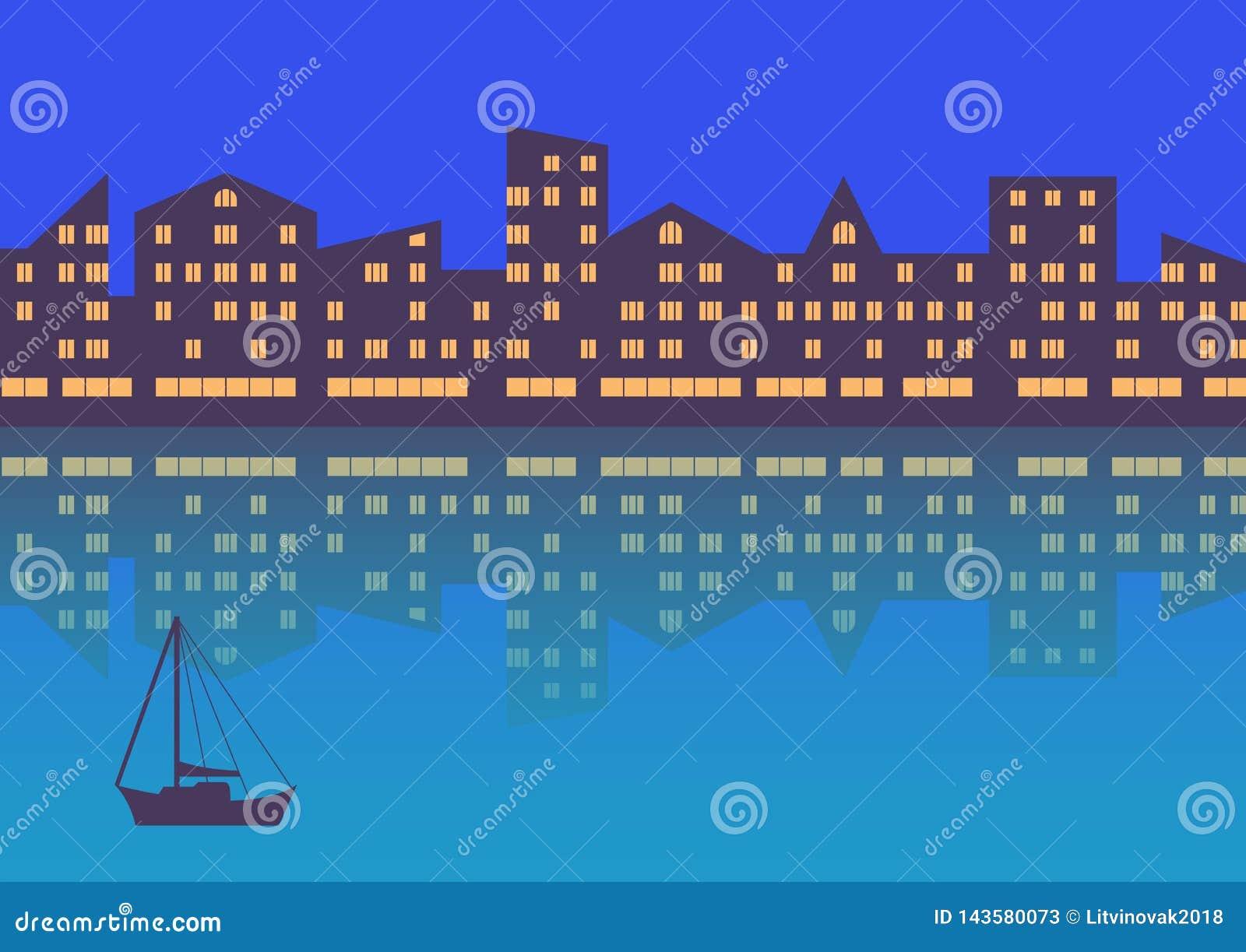 De stad met avondverlichting abstracte achtergrond Horizontale samenstelling