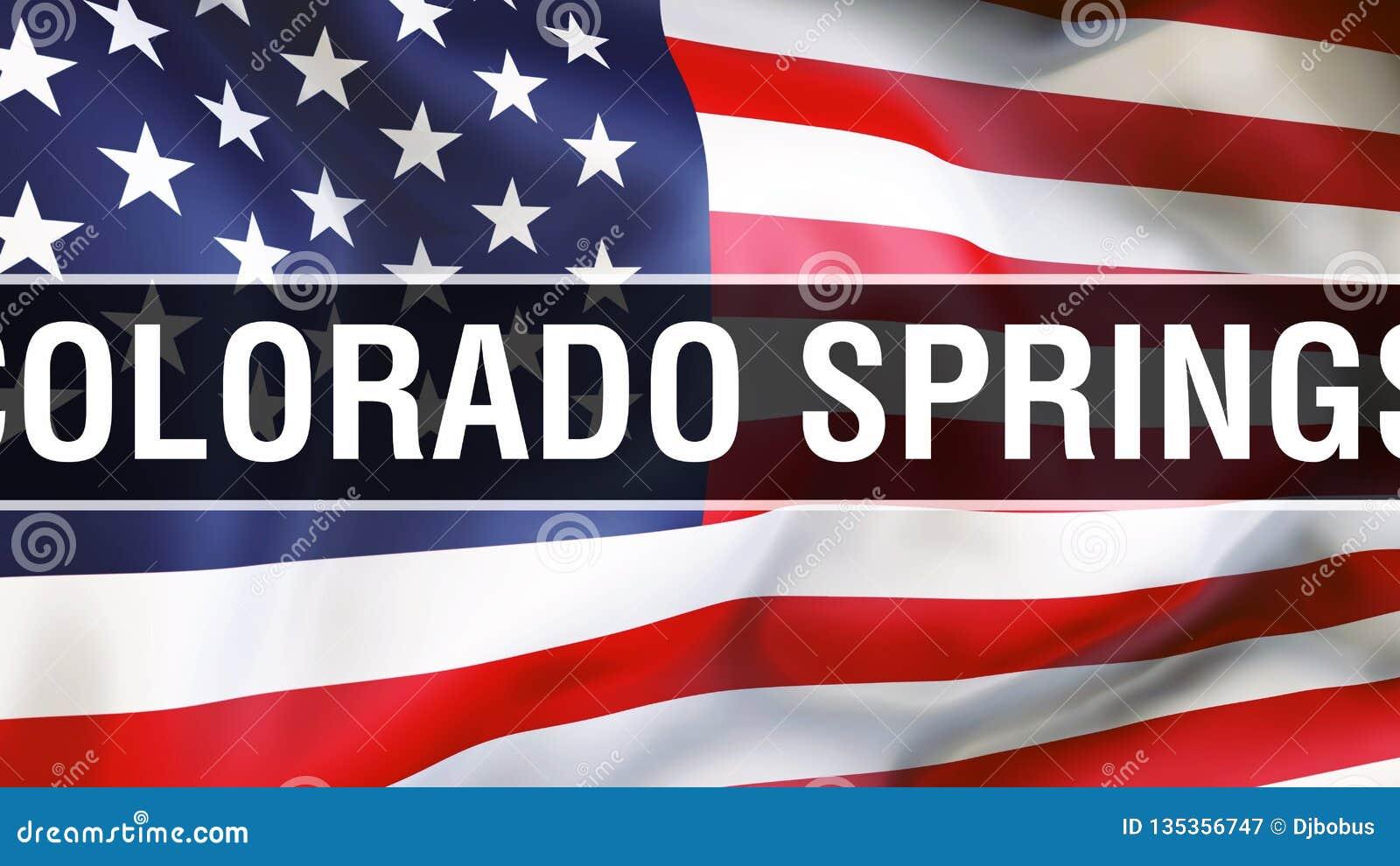 De stad van Colorado Springs op een de vlagachtergrond van de V.S., het 3D teruggeven De vlag die van de Verenigde Staten van Ame