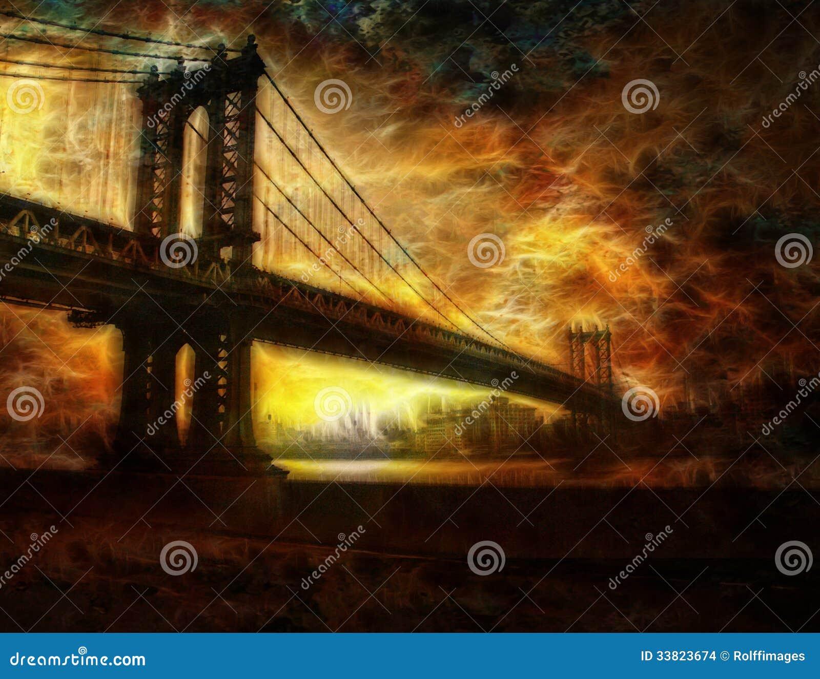De Stad van de Brugnew york van Brooklyn