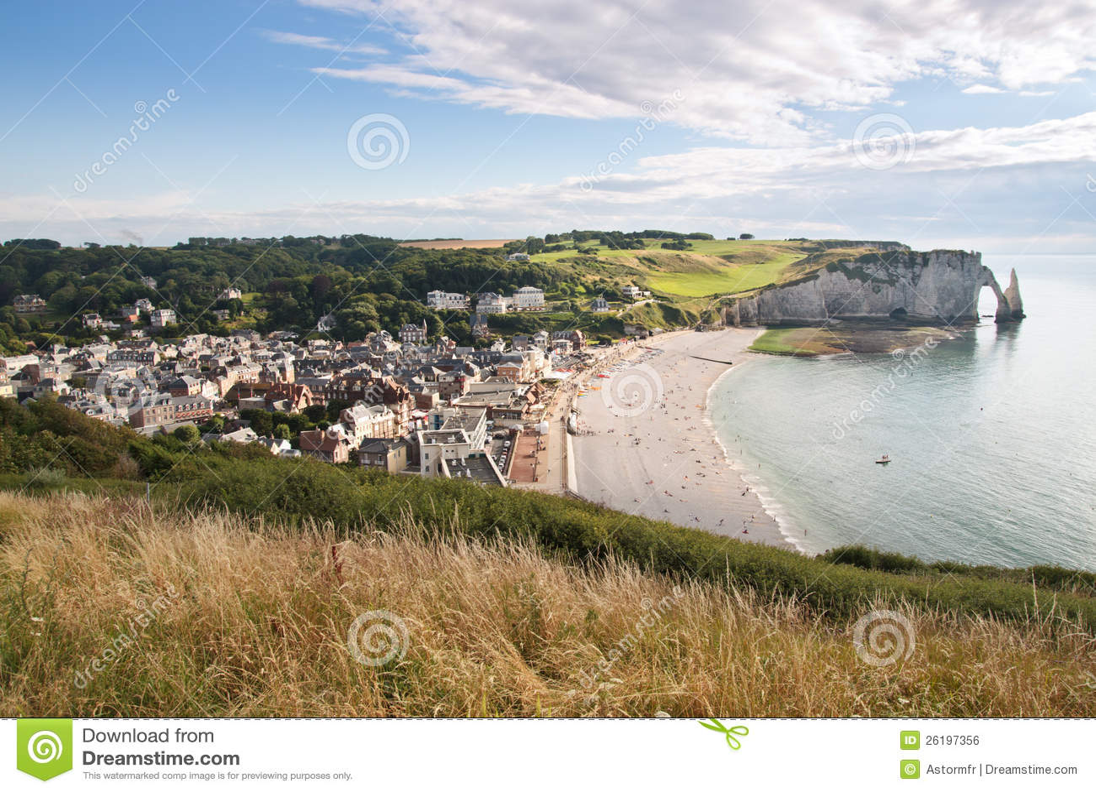 De stad van Etretat in Normandië Frankrijk