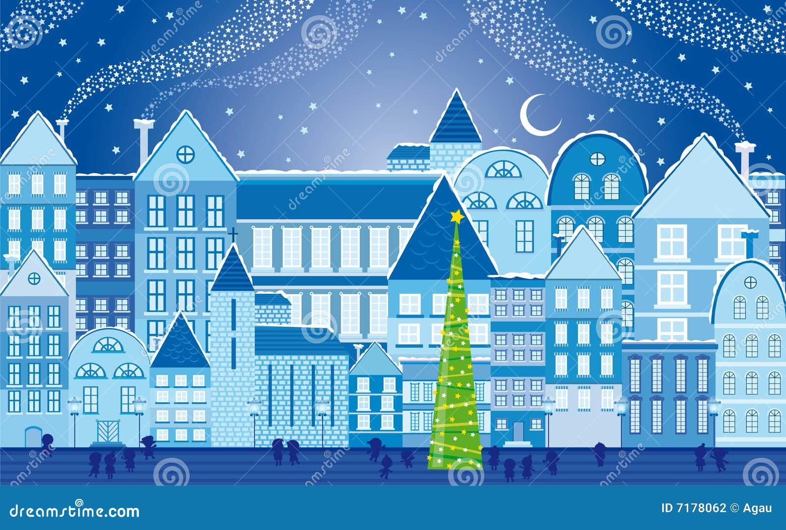 De stad van Kerstmis bij nacht